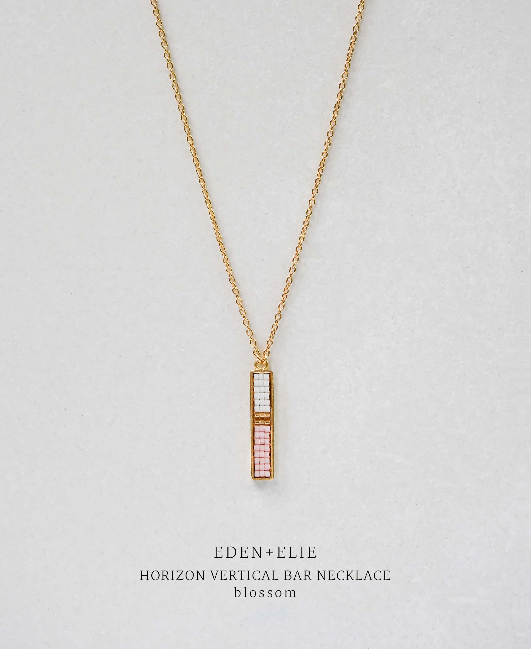 EDEN + ELIE Horizon Vertical bar necklace - blossom pink