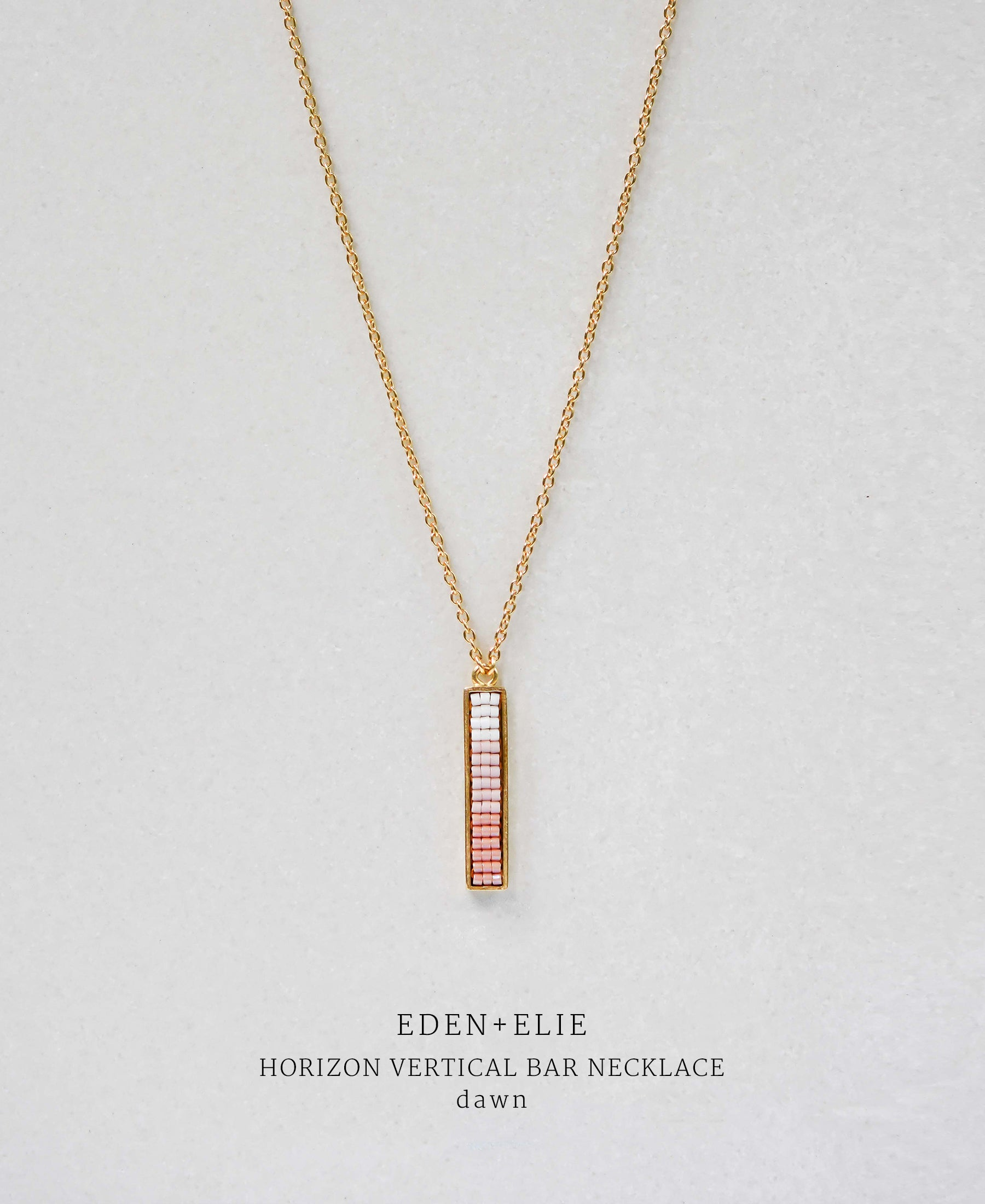 EDEN + ELIE Horizon Vertical bar necklace - dawn pink