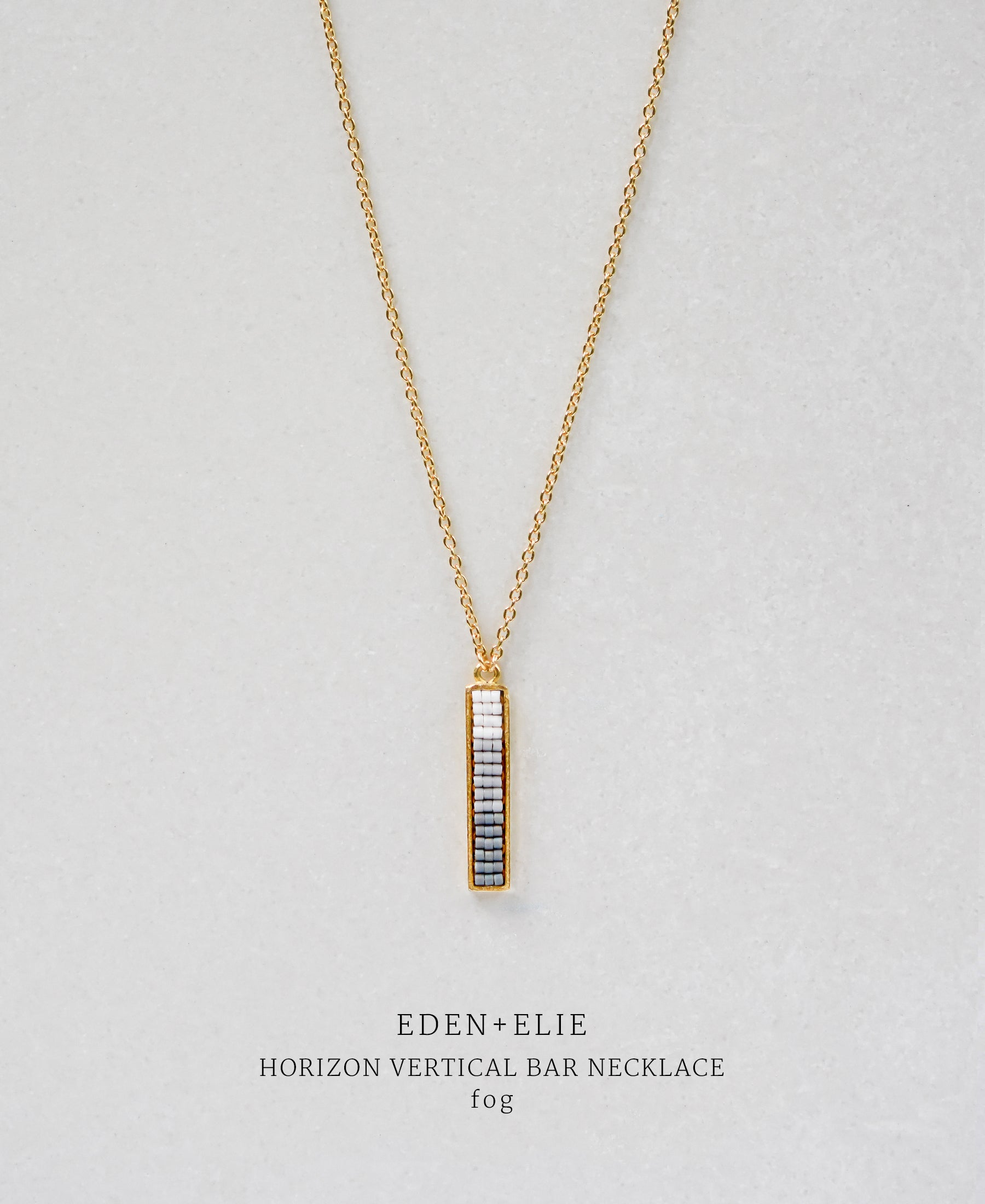 EDEN + ELIE Horizon Vertical bar necklace - fog grey