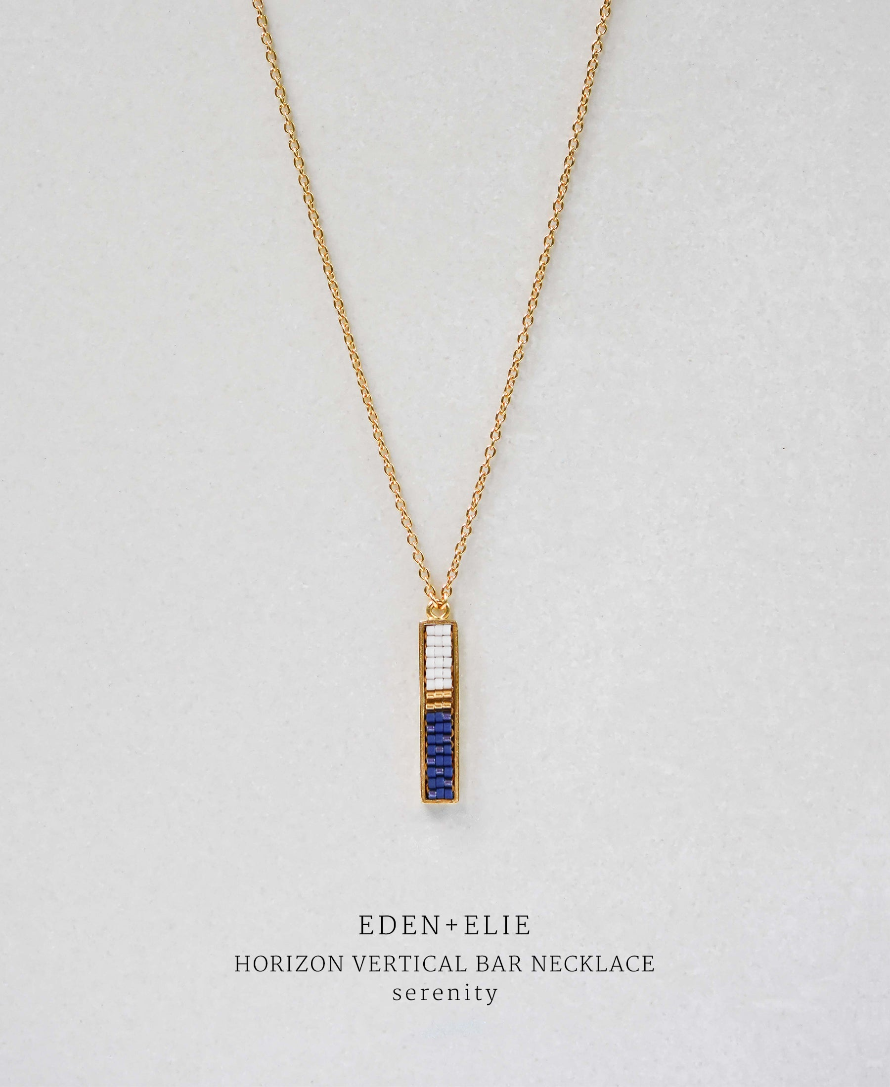 EDEN + ELIE Horizon Vertical bar necklace - serenity blue