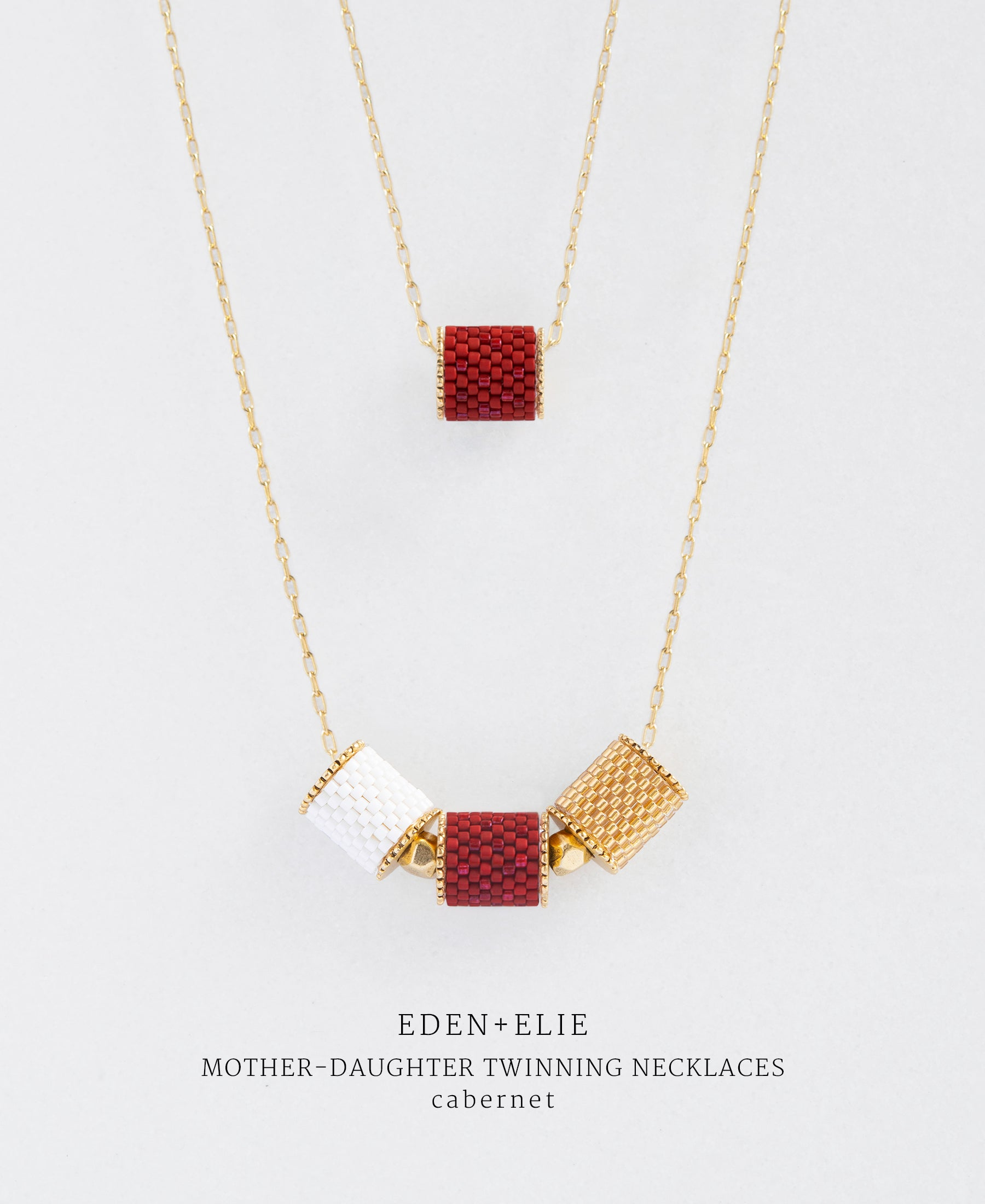 EDEN + ELIE Mother-Daughter twinning necklaces set - cabernet red