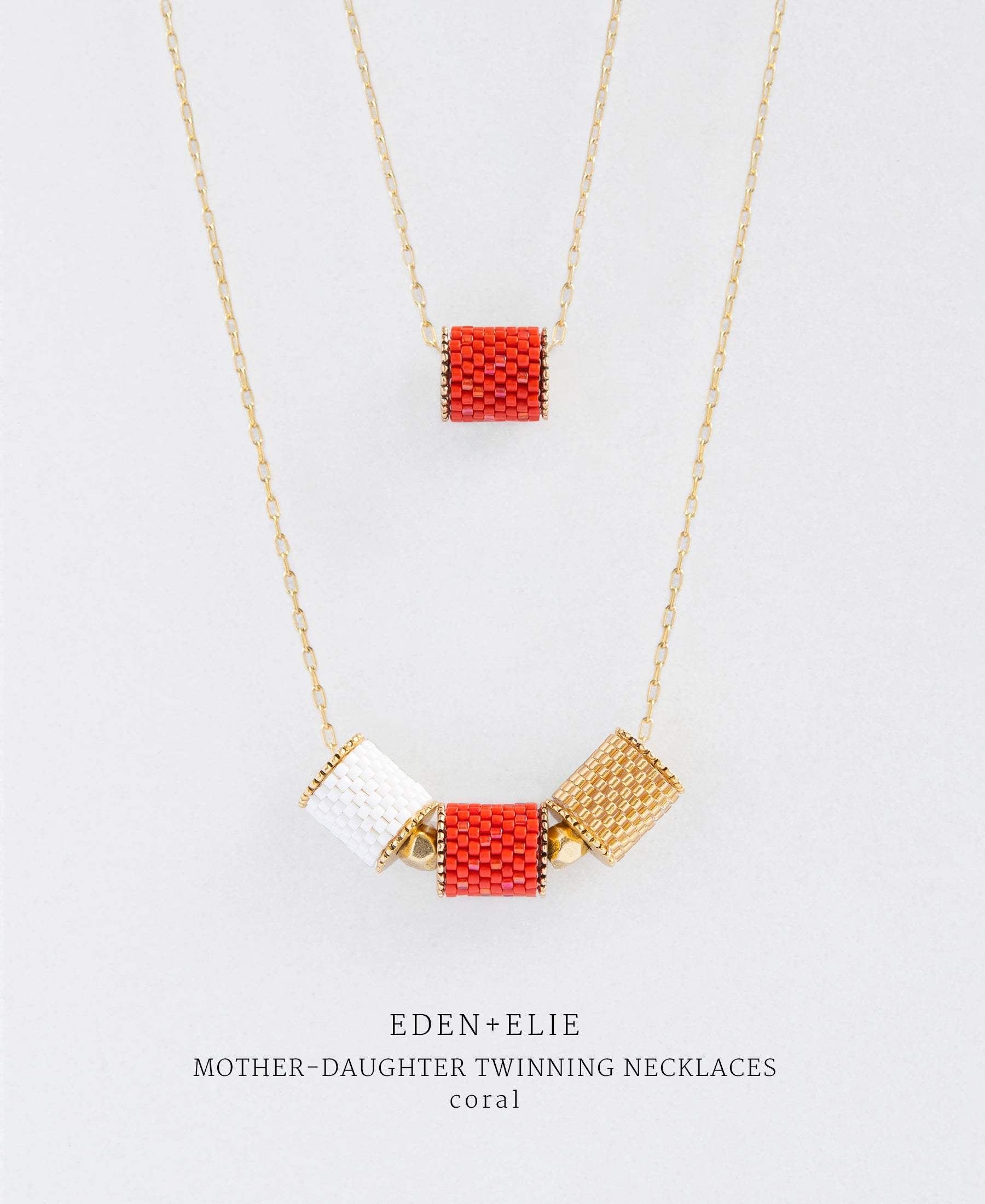 EDEN + ELIE Mother-Daughter twinning necklaces set - coral red