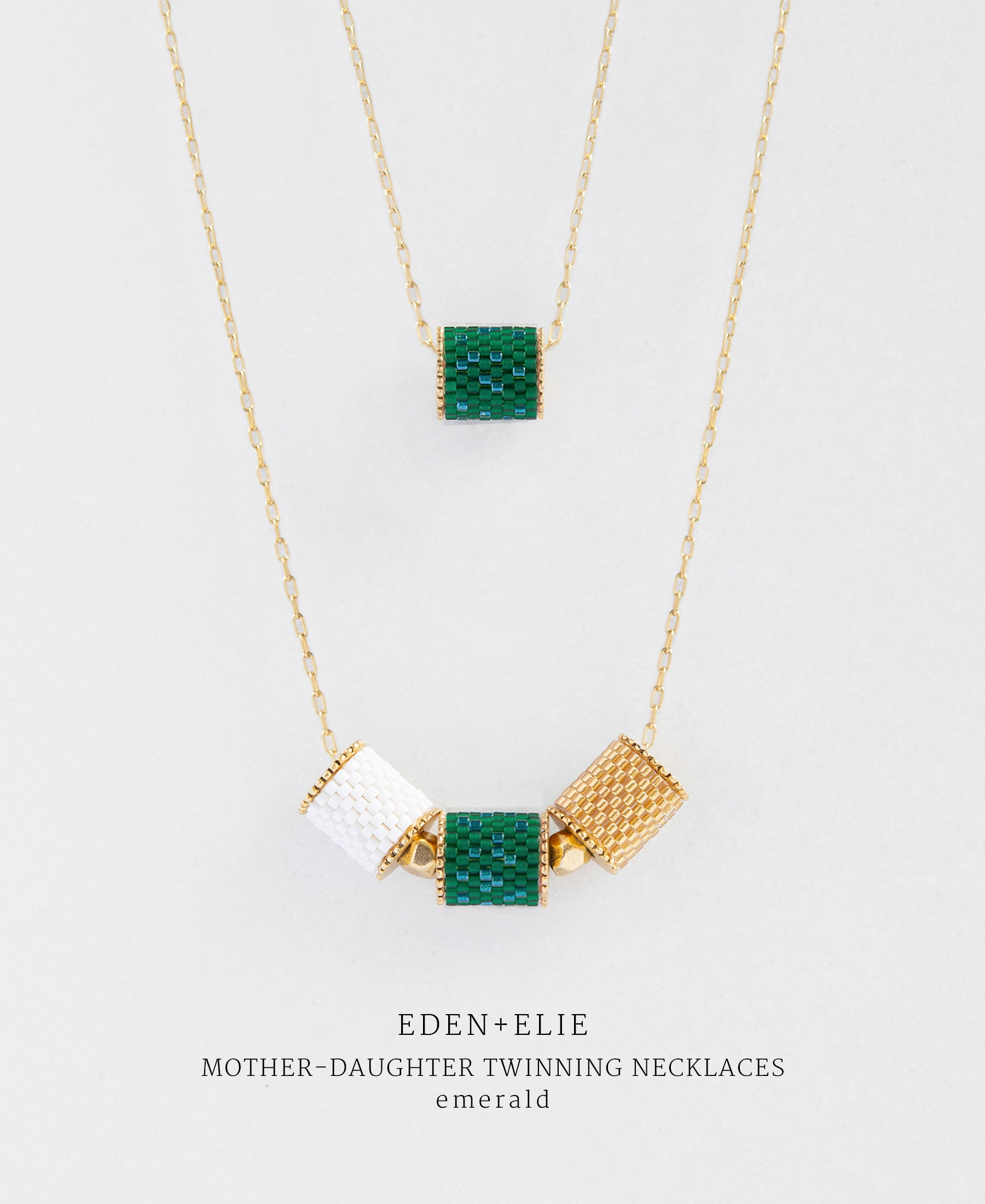 EDEN + ELIE Mother-Daughter twinning necklaces set - emerald green