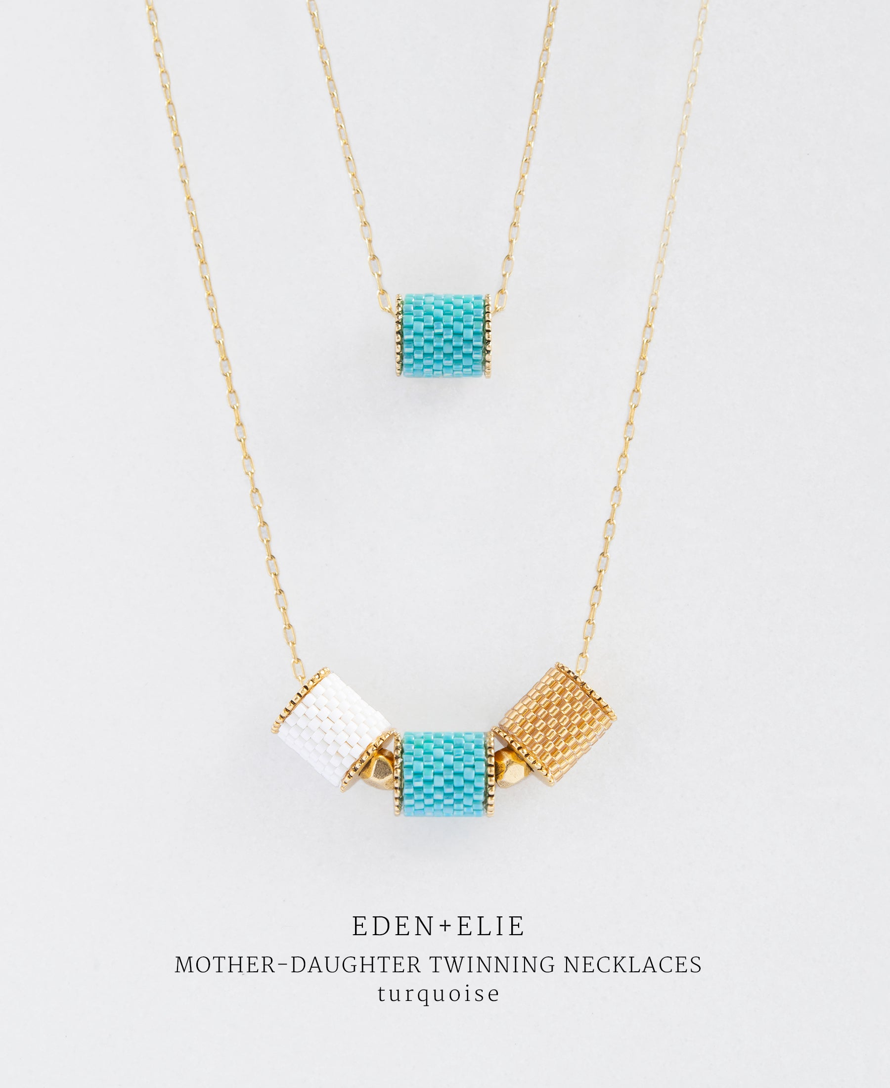 EDEN + ELIE Mother-Daughter twinning necklaces set - turquoise