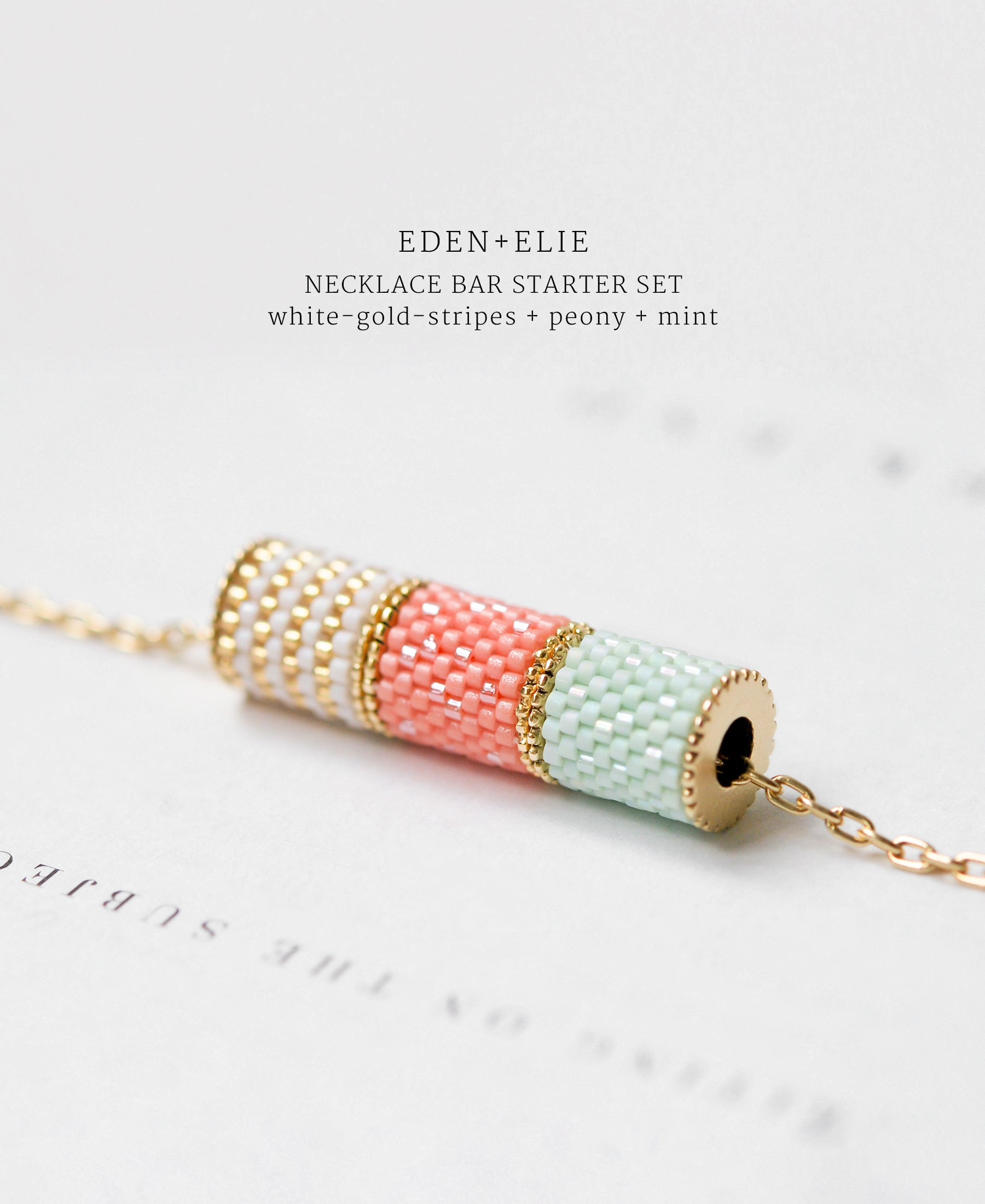 EDEN + ELIE Necklace Bar 3 bead starter set - mint + peony + white gold striped