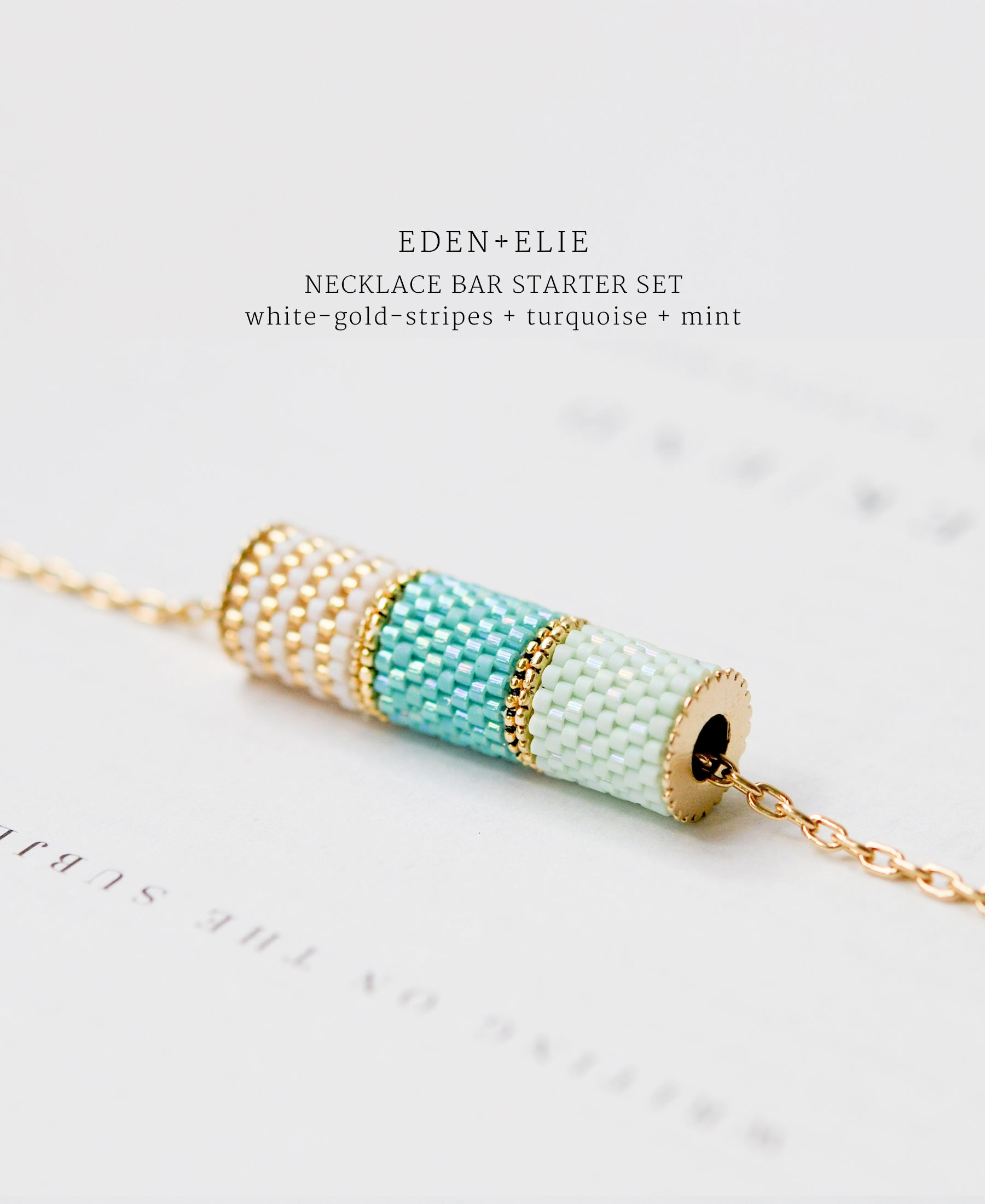 EDEN + ELIE Necklace Bar 3 bead starter set - mint + turquoise + white gold striped