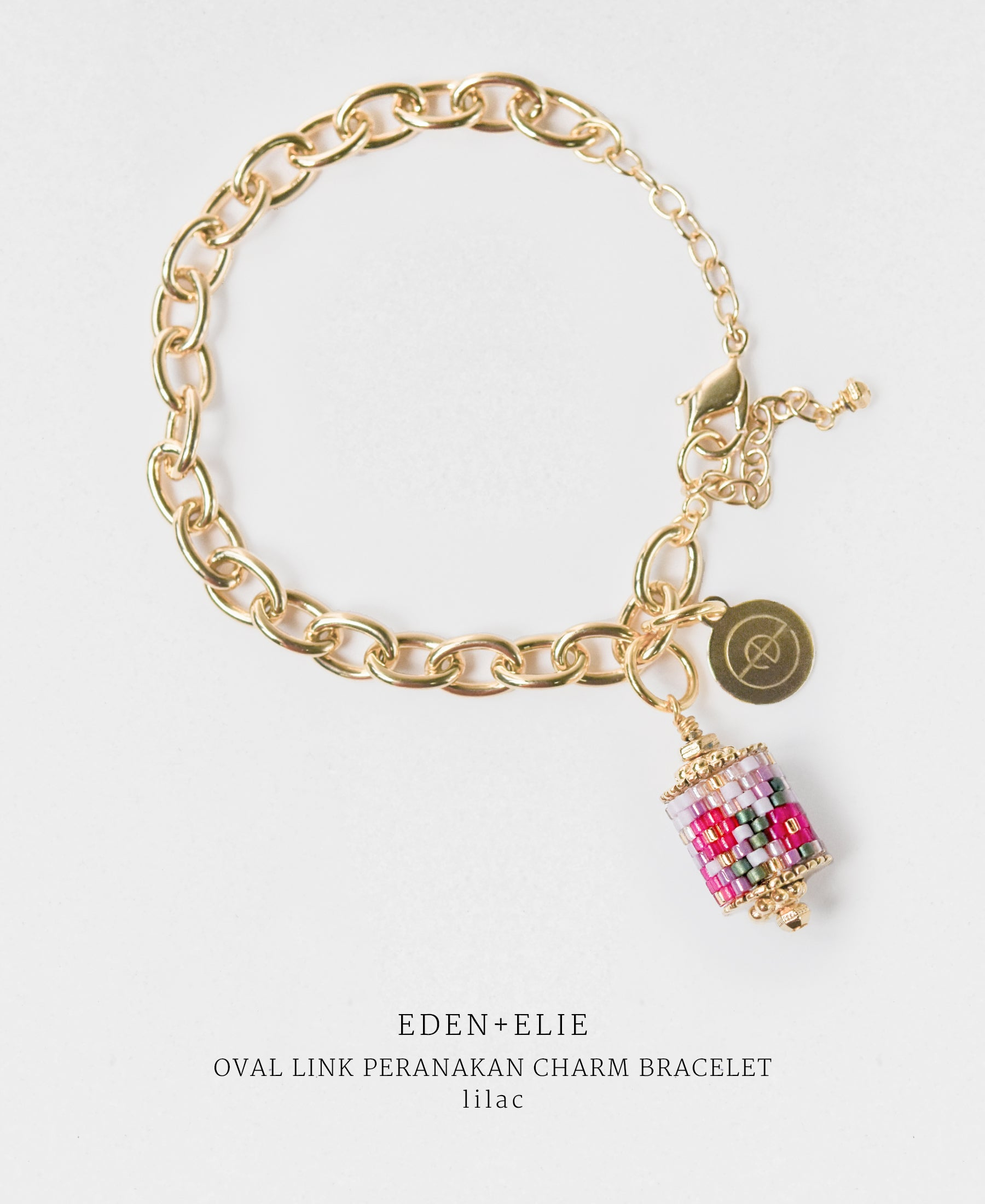 EDEN + ELIE gold plated jewelry Modern Peranakan gold charm bracelet - lilac