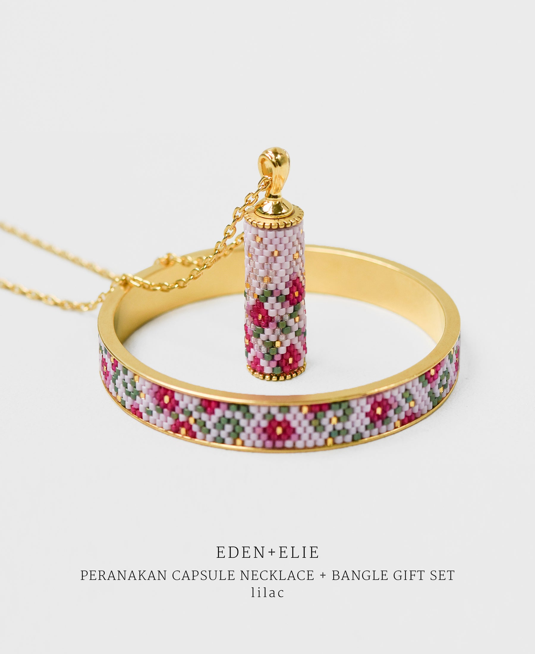 EDEN + ELIE Modern Peranakan capsule pendant necklace + bangle gift set - lilac