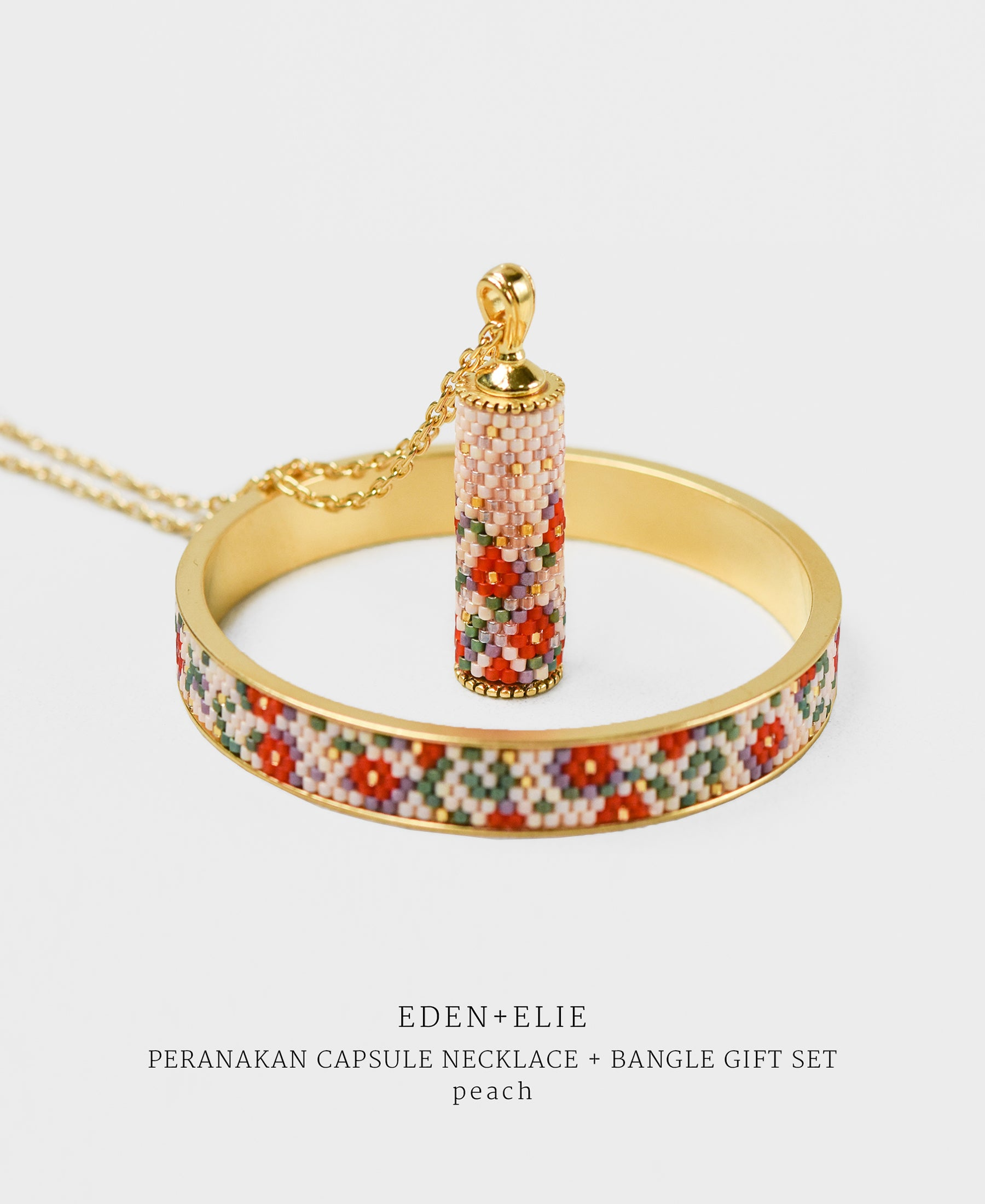 EDEN + ELIE Modern Peranakan capsule pendant necklace + bangle gift set - peach