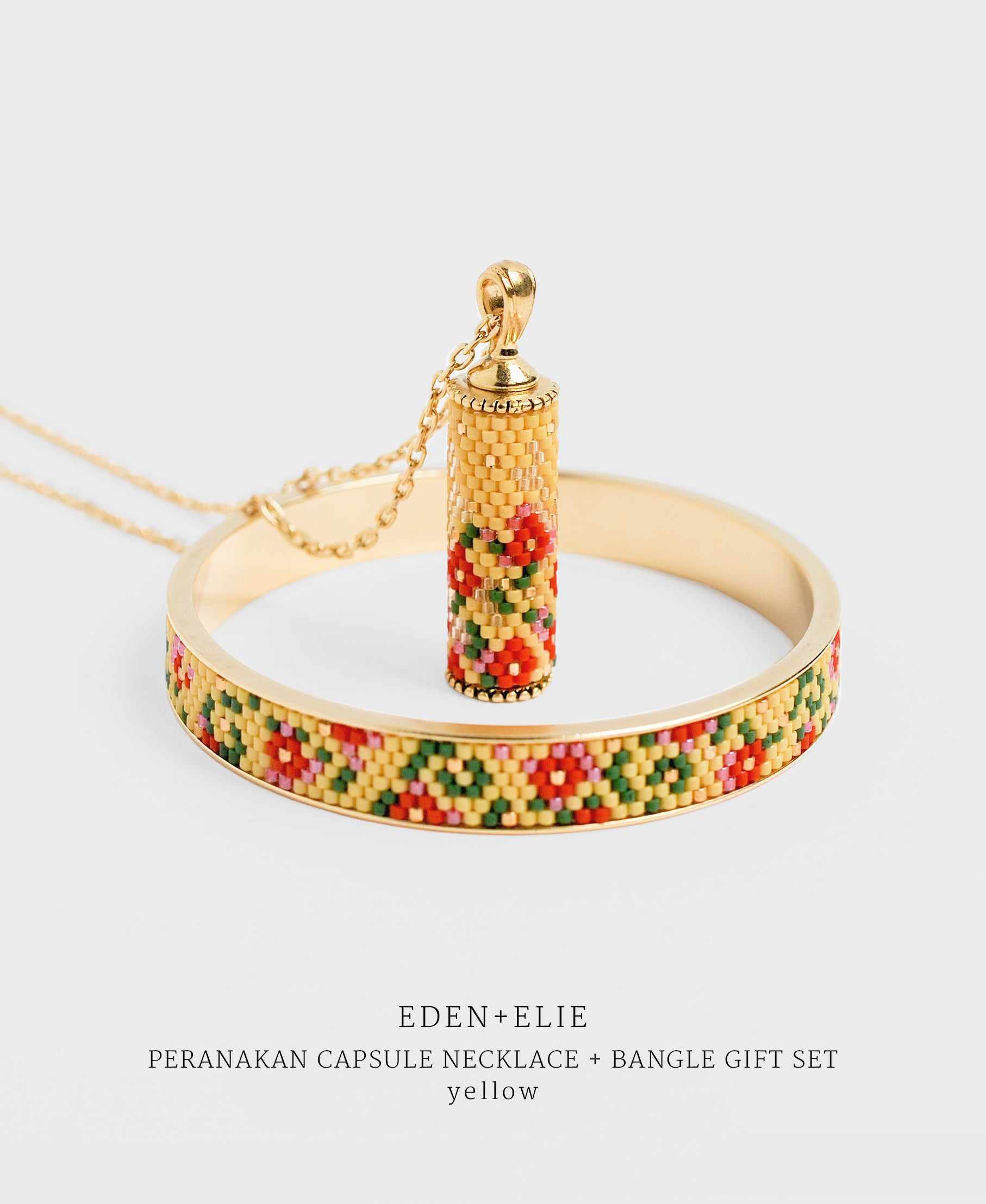 EDEN + ELIE Modern Peranakan capsule pendant necklace + bangle gift set - yellow