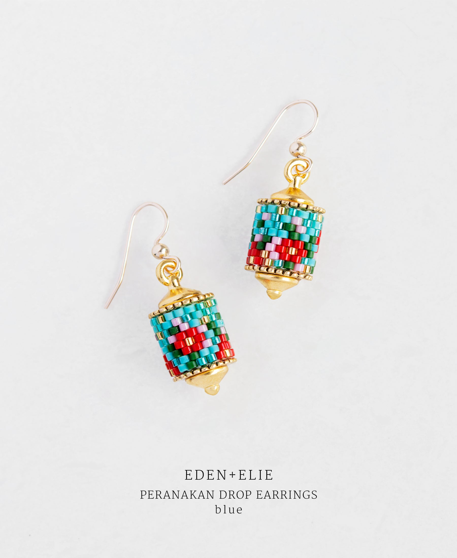 EDEN + ELIE gold plated jewelry Modern Peranakan drop earrings - blue