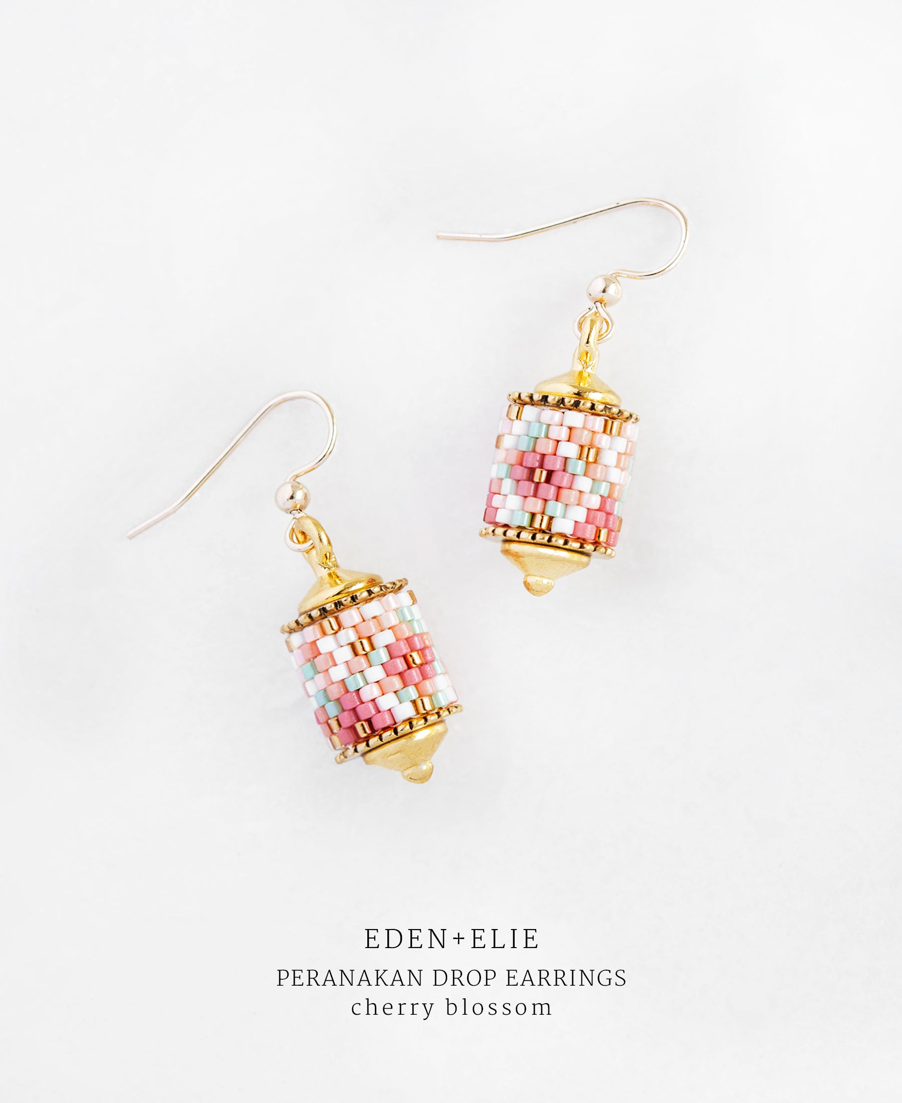 EDEN + ELIE Modern Peranakan drop earrings - cherry blossom
