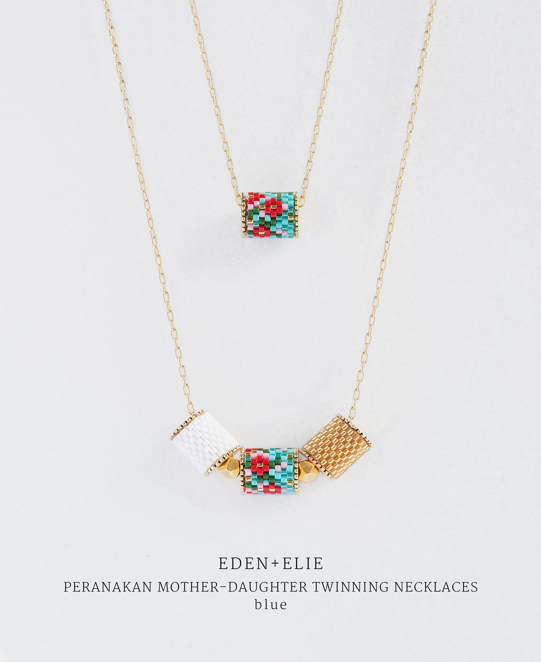 EDEN + ELIE Mother-Daughter twinning necklaces set - peranakan blue