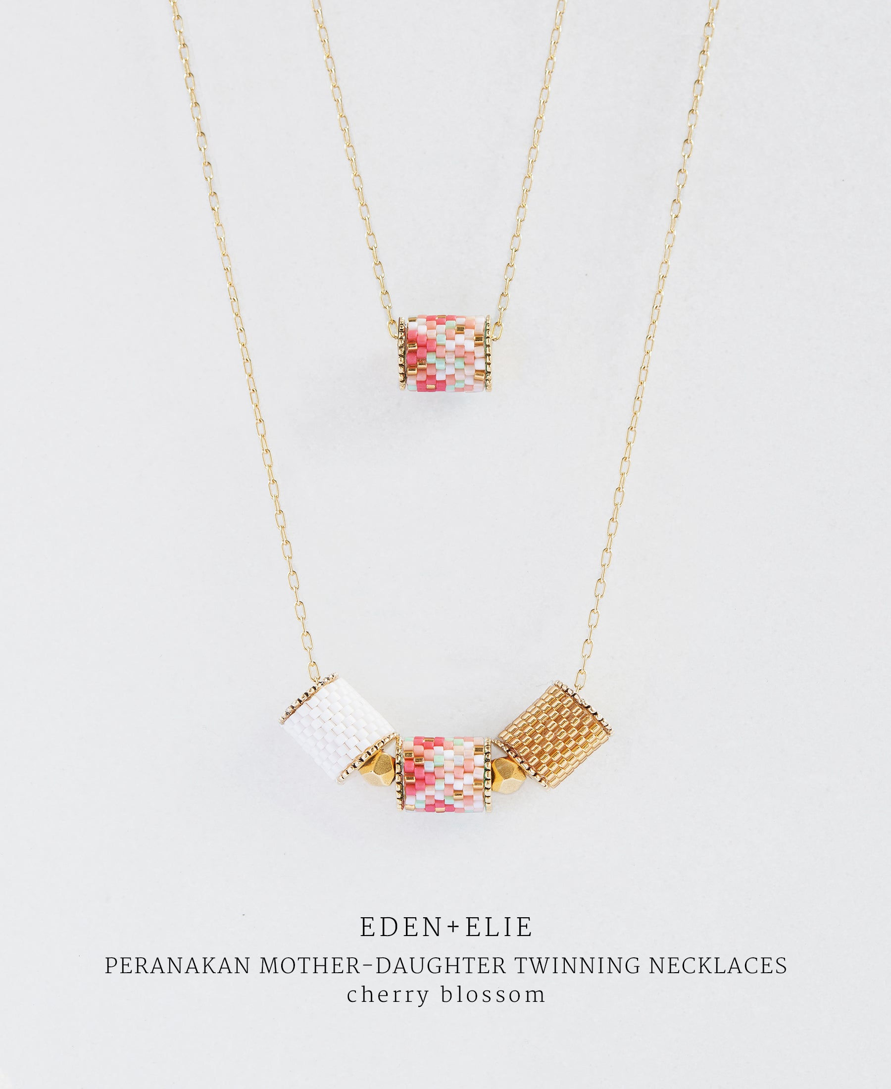 EDEN + ELIE Mother-Daughter twinning necklaces set - cherry blossom