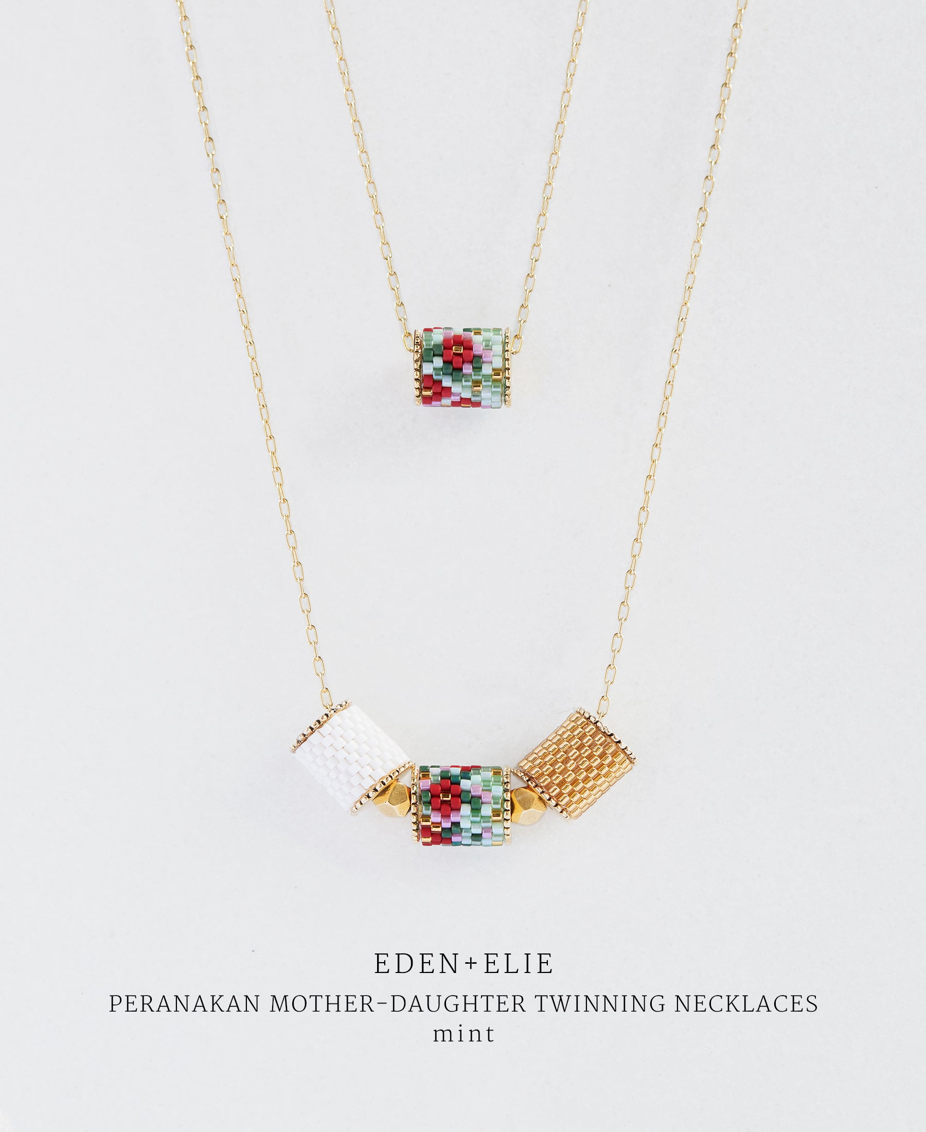 EDEN + ELIE Mother-Daughter twinning necklaces set - peranakan mint