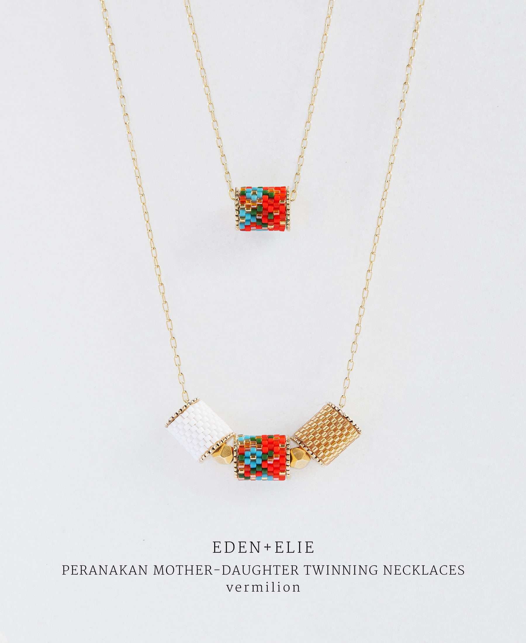 EDEN + ELIE Mother-Daughter twinning necklaces set - peranakan vermilion