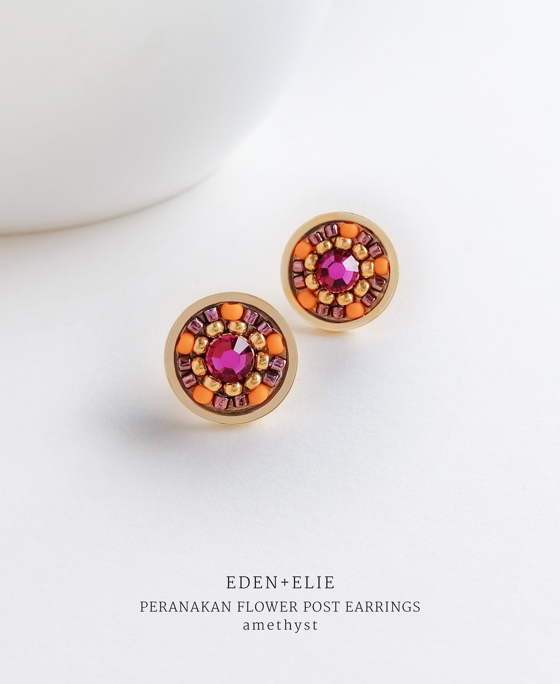 EDEN + ELIE Modern Peranakan flower stud earrings - amethyst