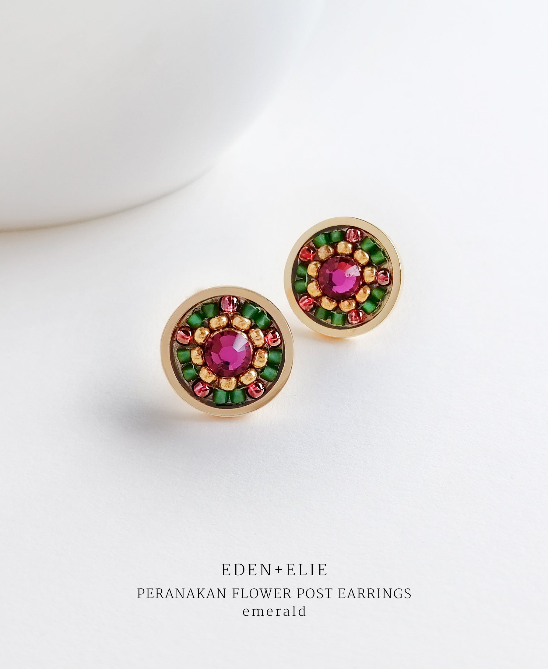 EDEN + ELIE Modern Peranakan flower stud earrings - emerald