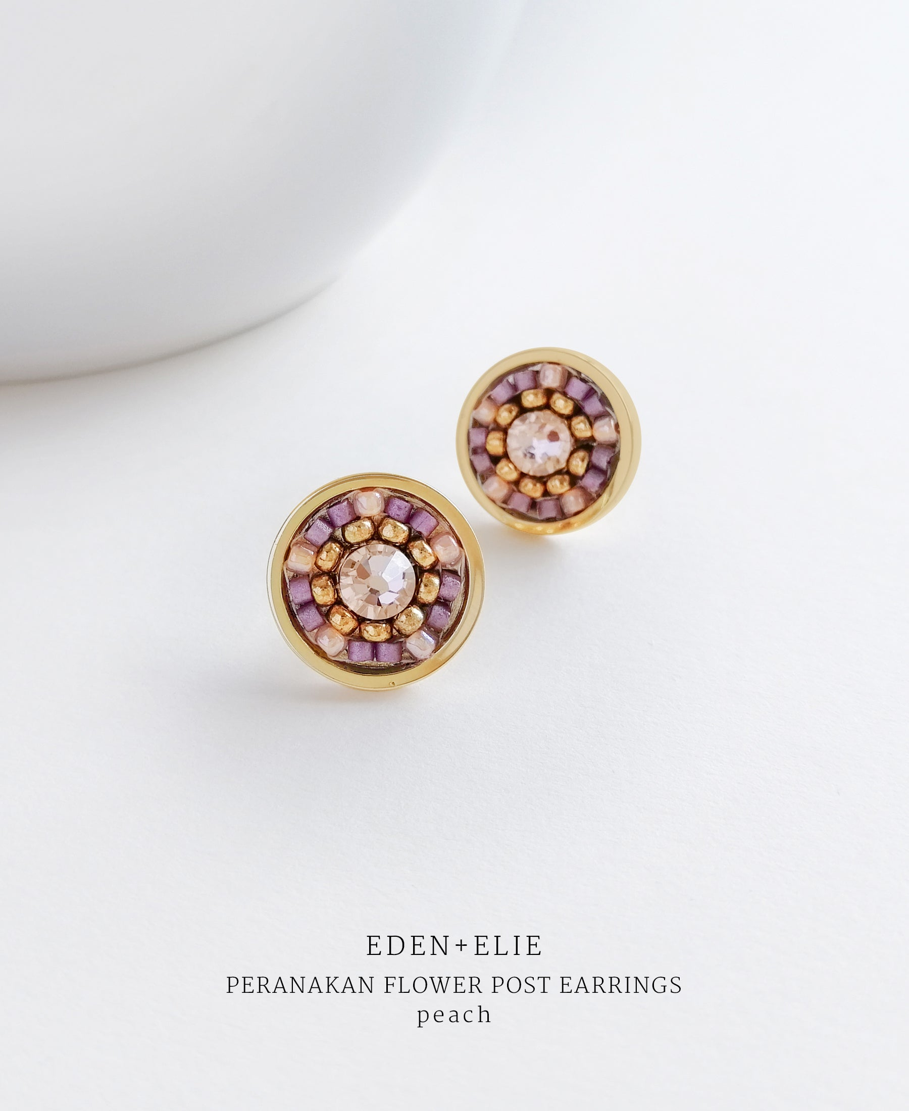 EDEN + ELIE gold plated jewelry Modern Peranakan flower stud earrings - peach