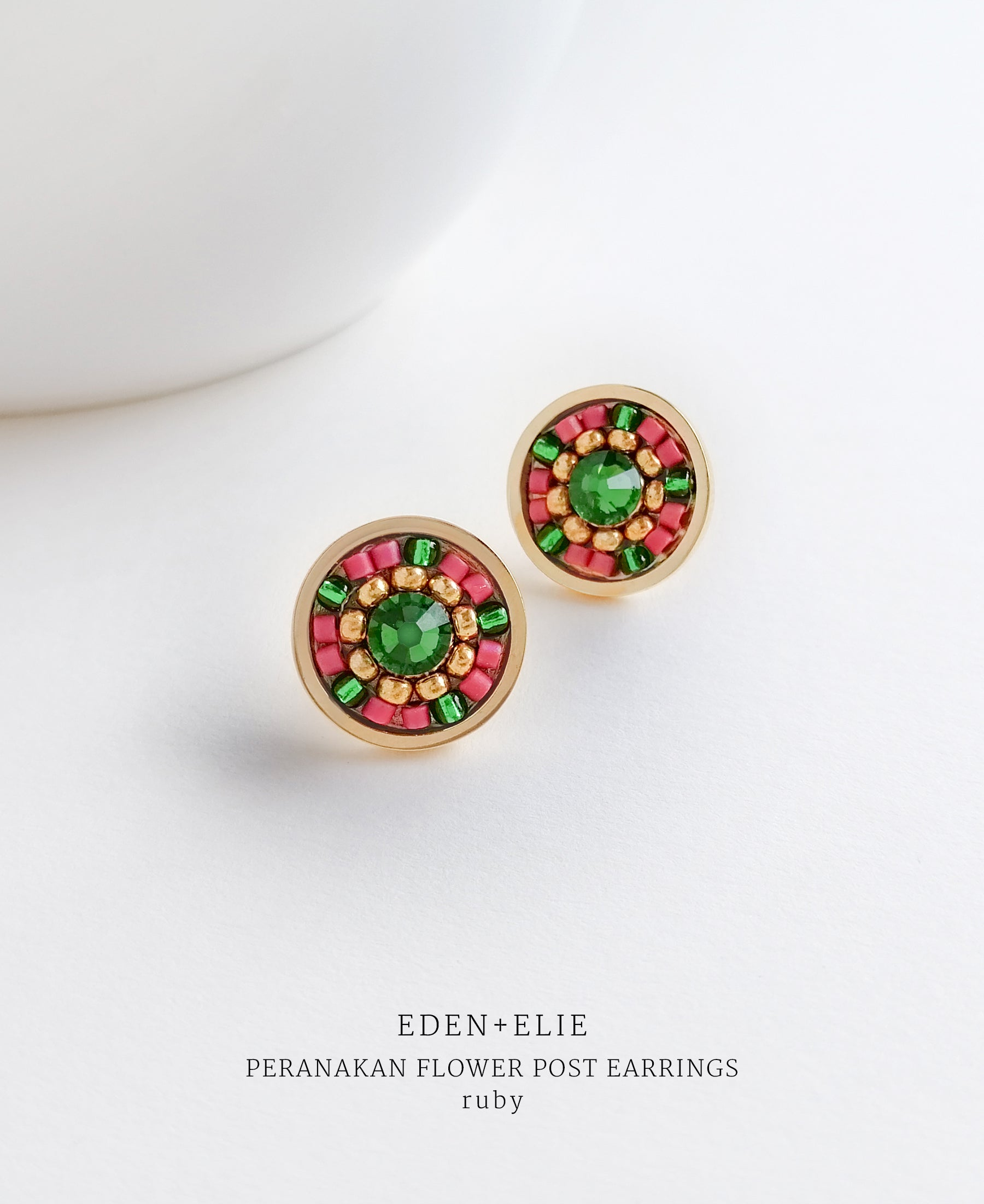 EDEN + ELIE Modern Peranakan flower stud earrings - ruby