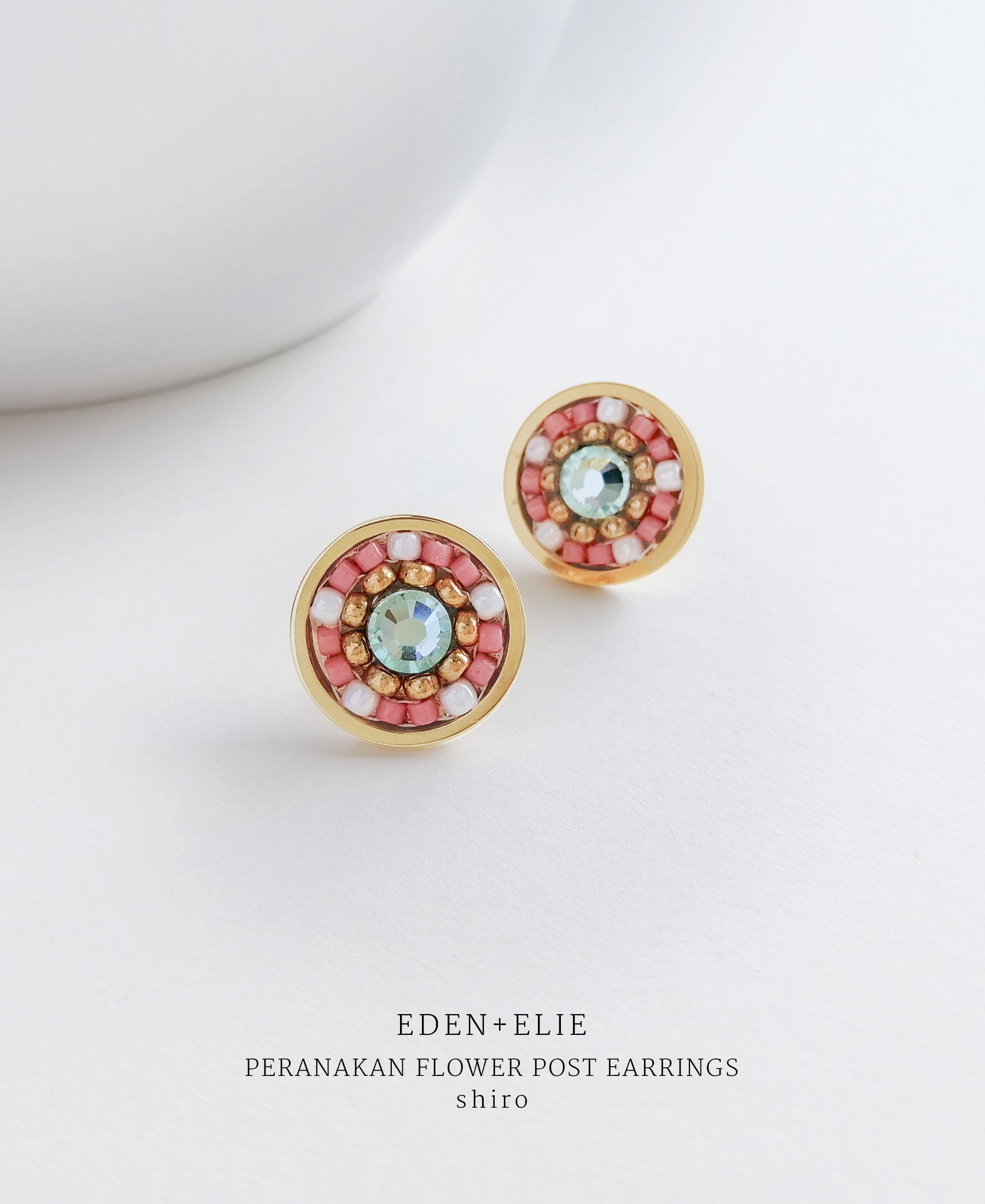 EDEN + ELIE Modern Peranakan flower stud earrings - shiro