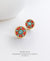 EDEN + ELIE Modern Peranakan flower stud earrings - vermilion