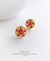 EDEN + ELIE Modern Peranakan flower stud earrings - yellow