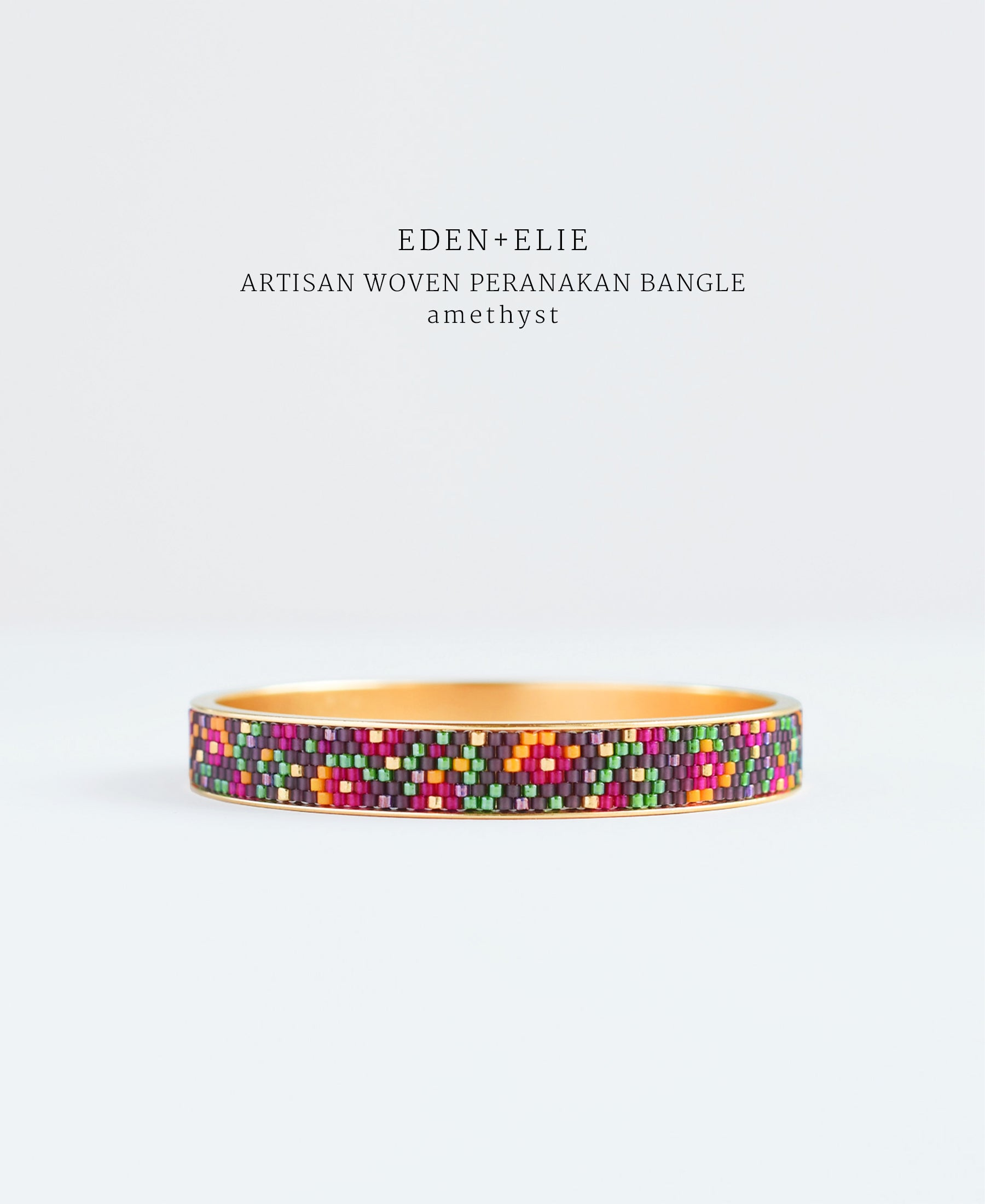 EDEN + ELIE Modern Peranakan gold narrow bangle - amethyst