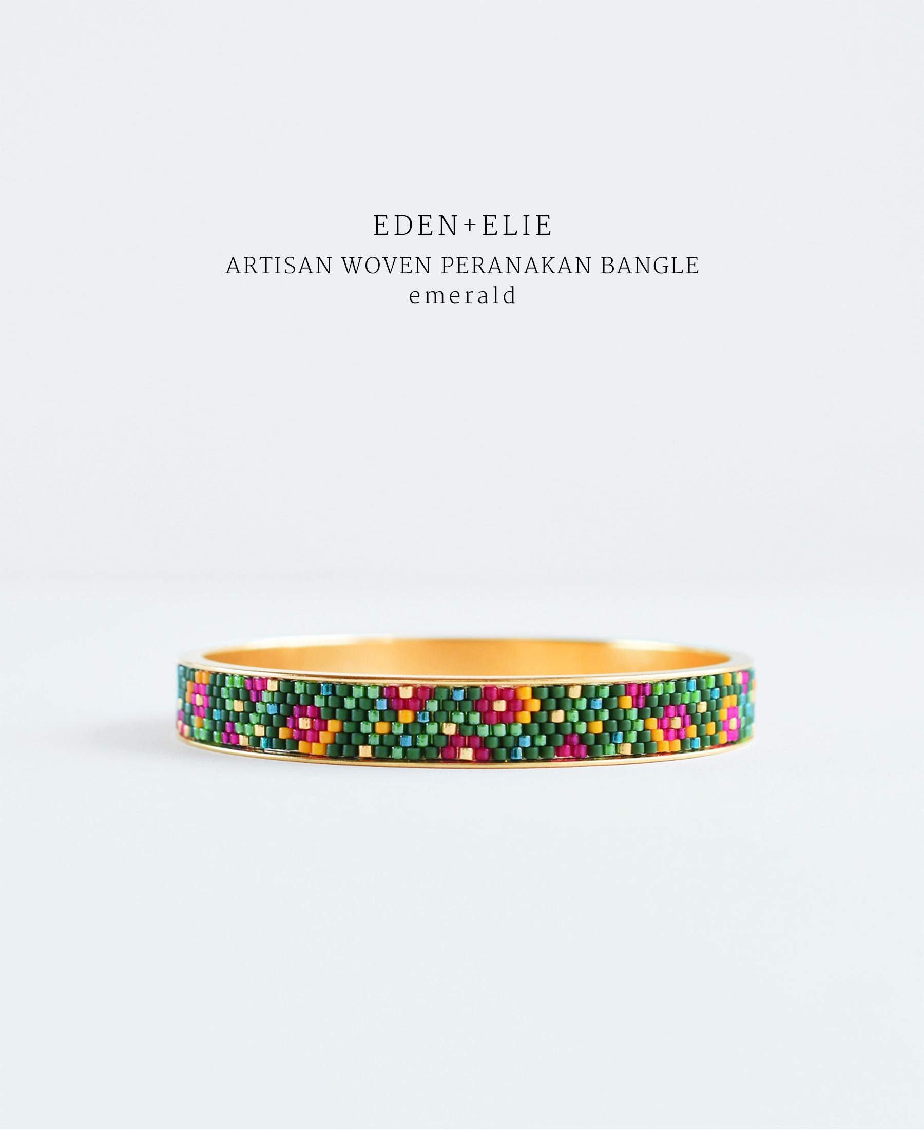EDEN + ELIE Modern Peranakan gold narrow bangle - emerald