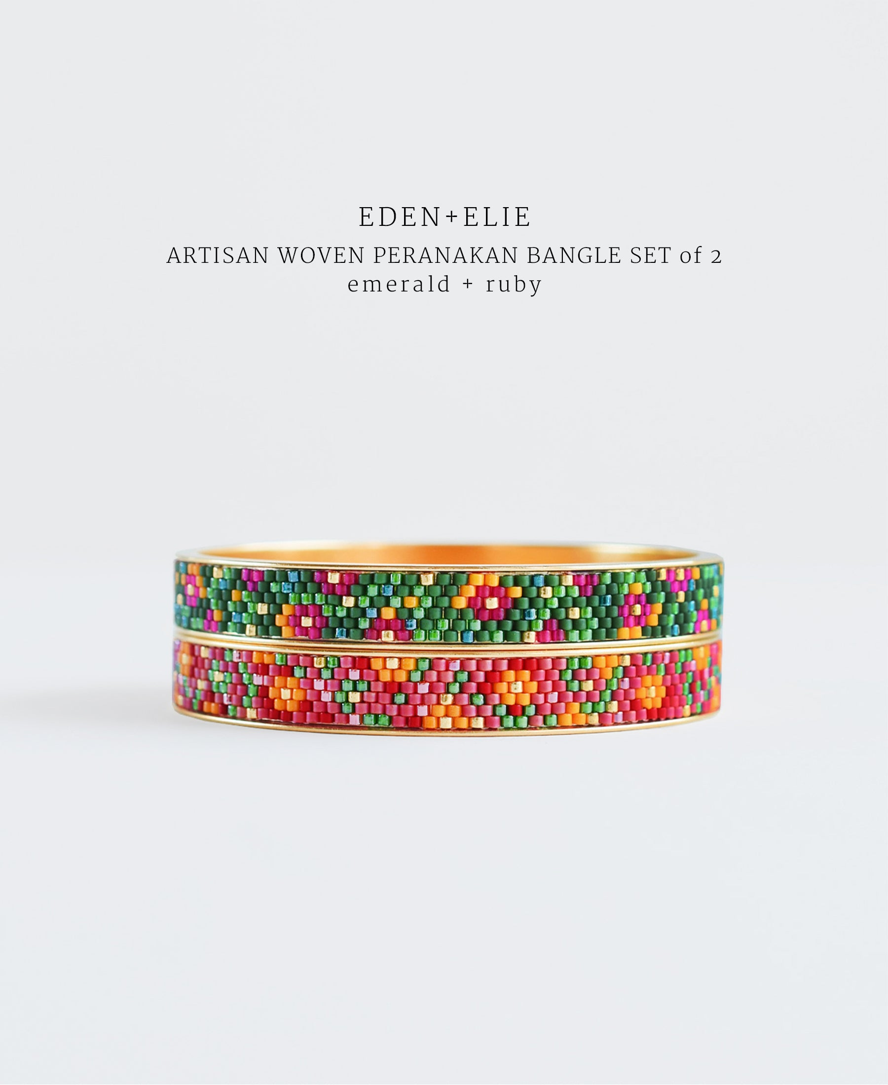 EDEN + ELIE Modern Peranakan gold narrow bangles set of 2 - emerald + ruby