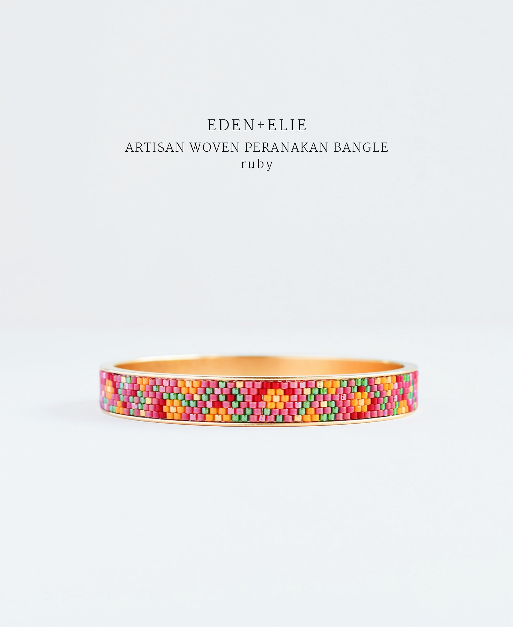 EDEN + ELIE Modern Peranakan gold narrow bangle - ruby