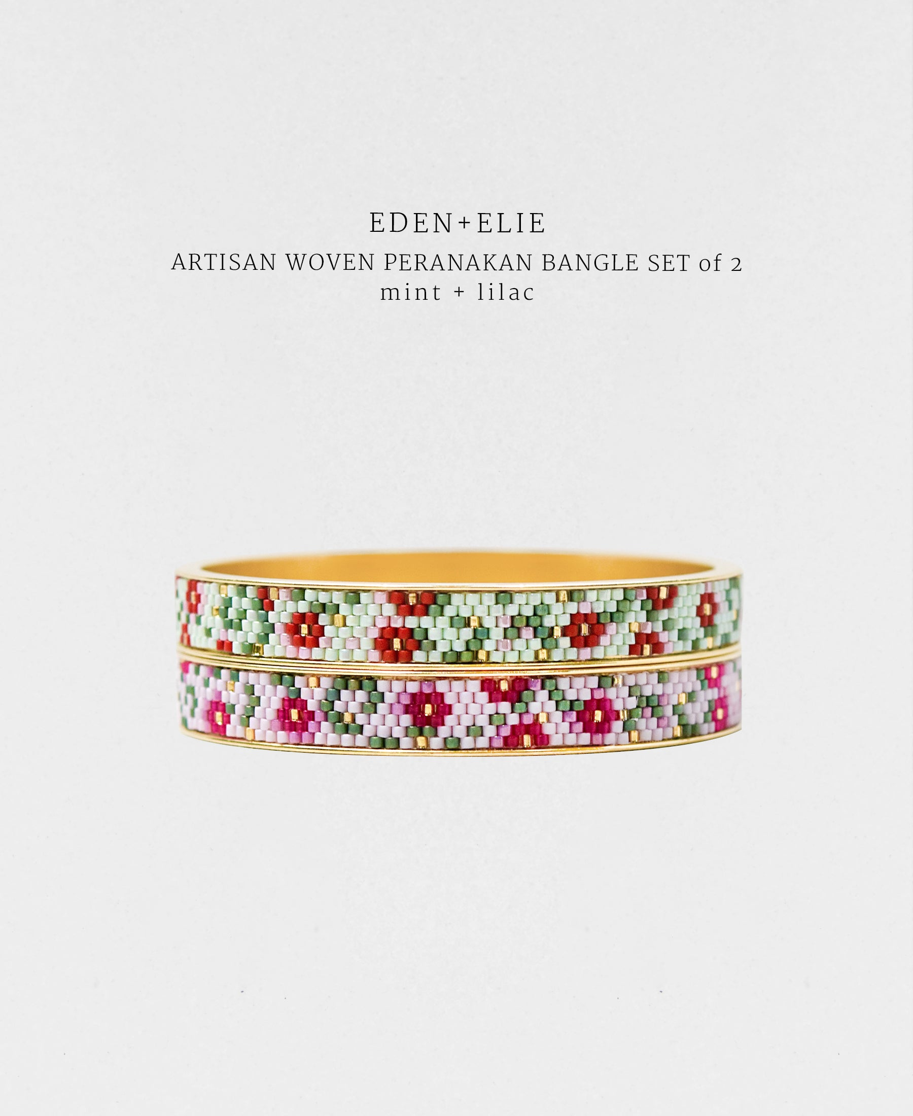 EDEN + ELIE Modern Peranakan gold narrow bangles set of 2 - mint + lilac