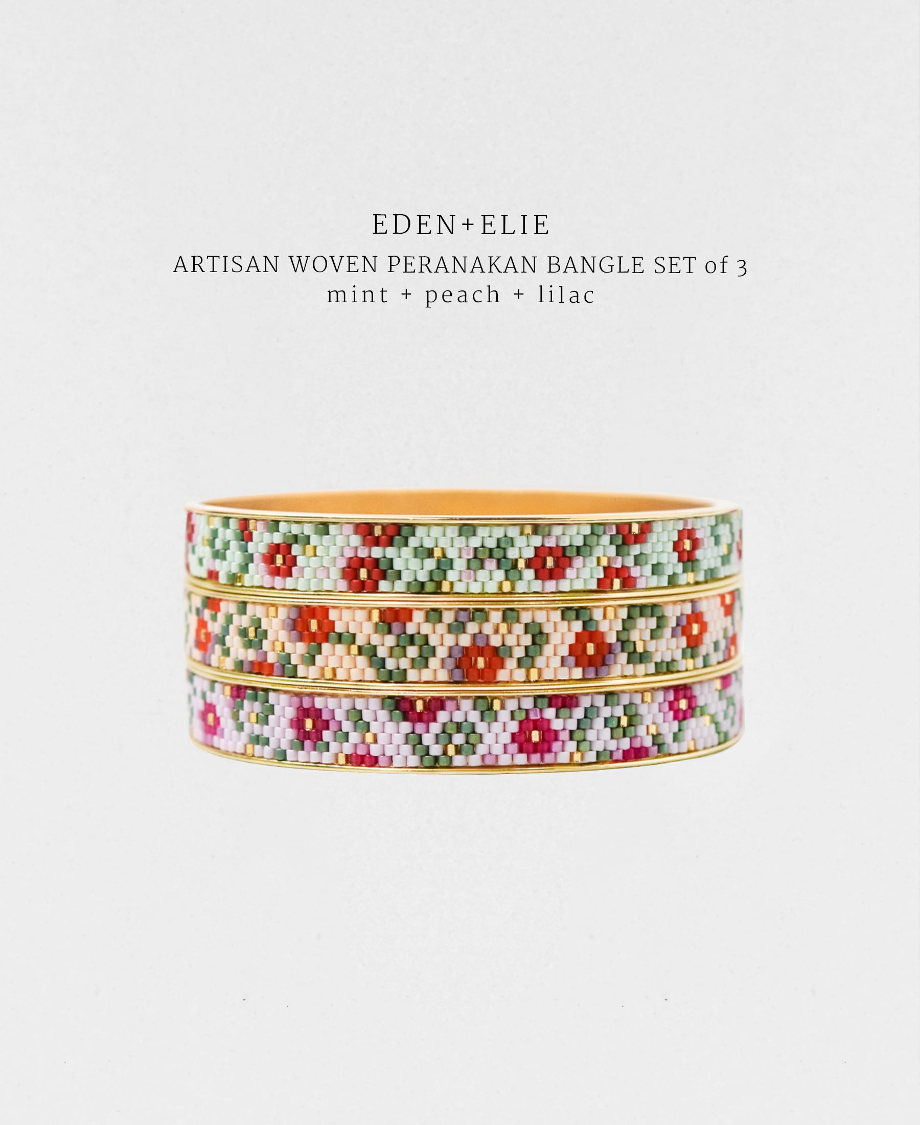 EDEN + ELIE Modern Peranakan gold narrow bangles set of 3 - mint + lilac + peach