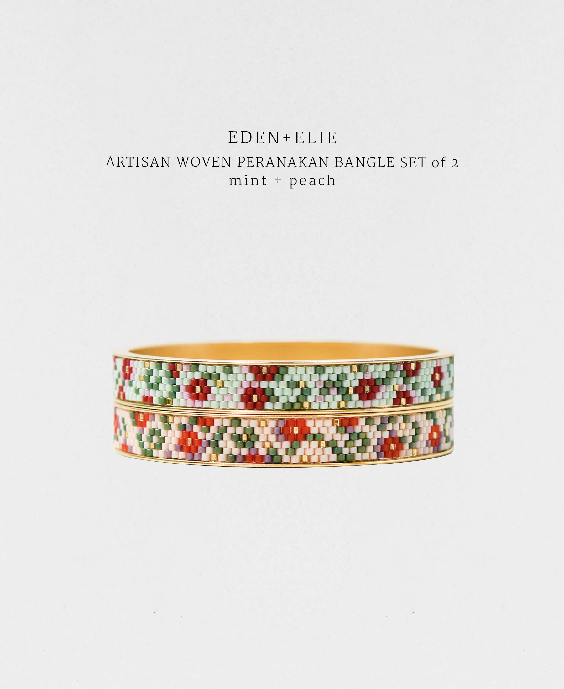 EDEN + ELIE Modern Peranakan gold narrow bangles set of 2 - mint + peach