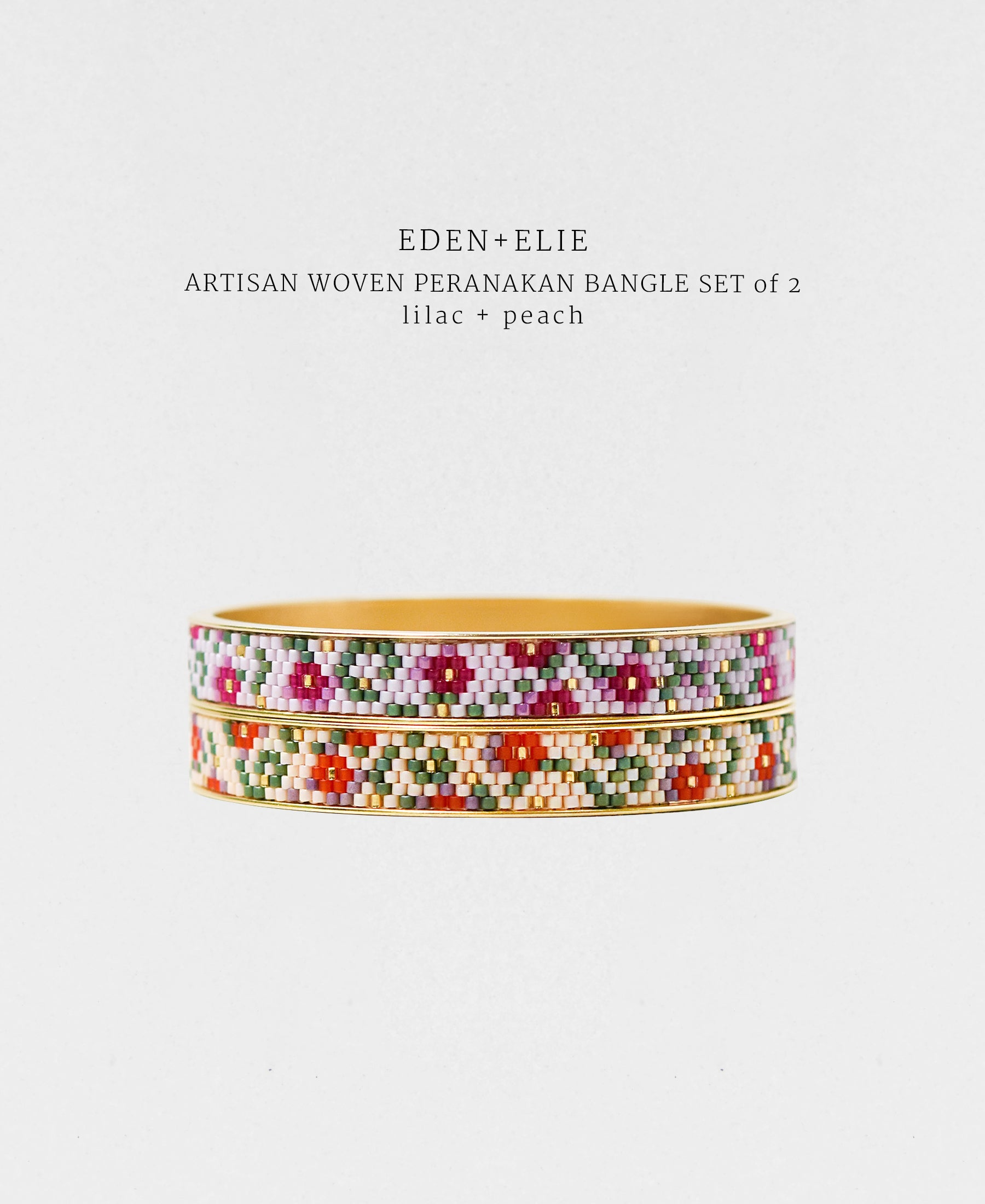 EDEN + ELIE Modern Peranakan gold narrow bangles set of 2 - lilac + peach