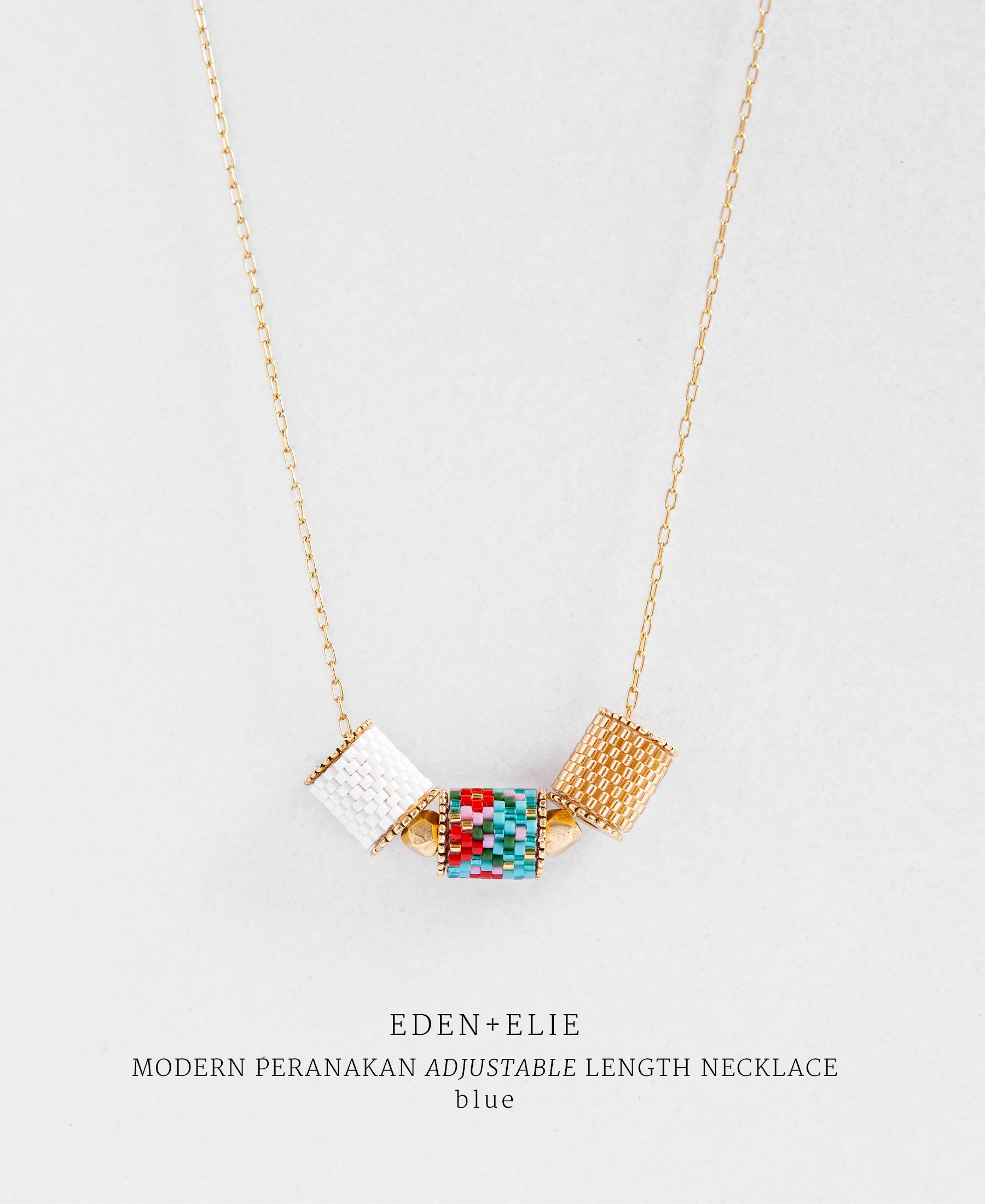 EDEN + ELIE Modern Peranakan adjustable length necklace - blue