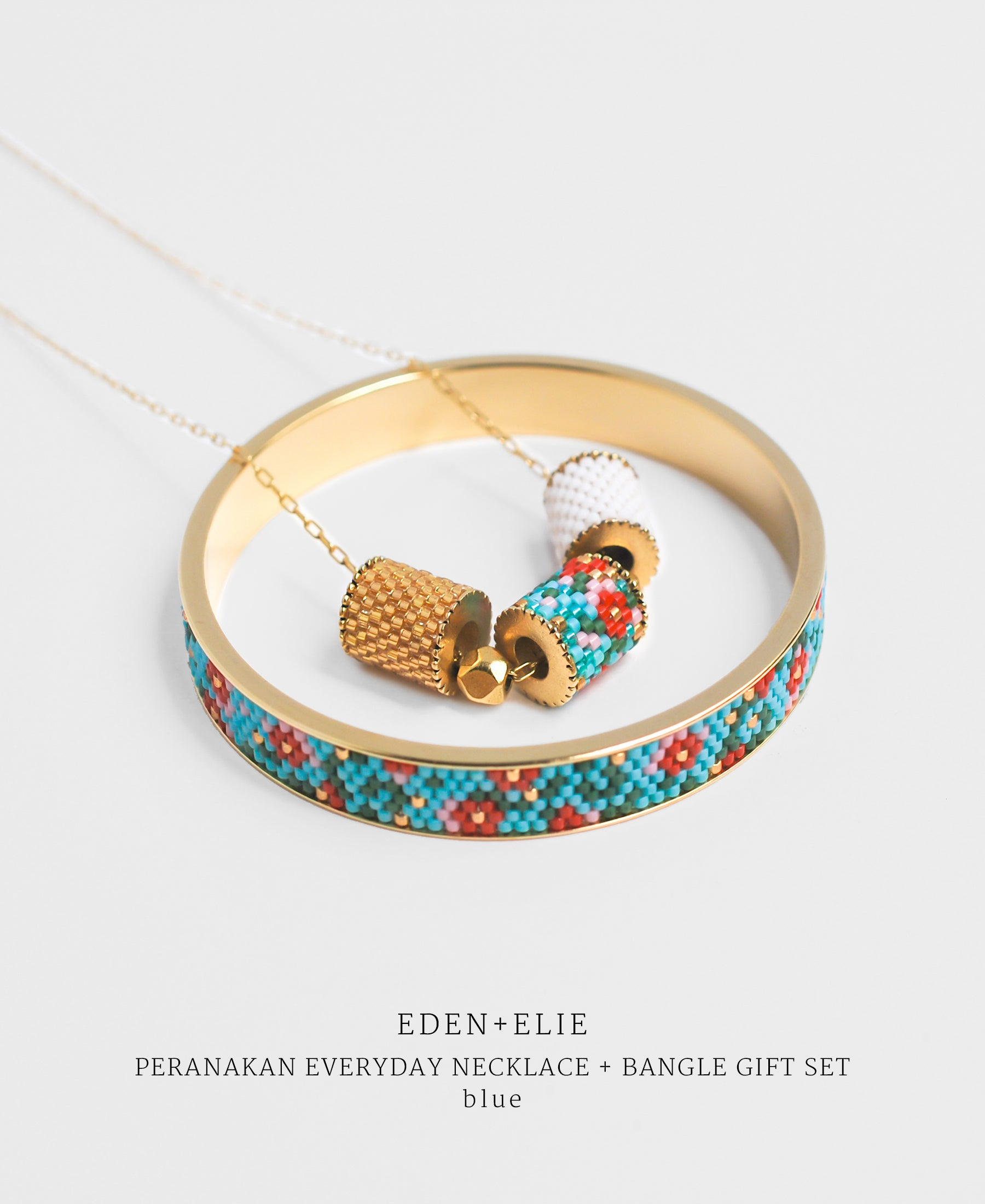 EDEN + ELIE Modern Peranakan adjustable length necklace + bangle gift set - blue