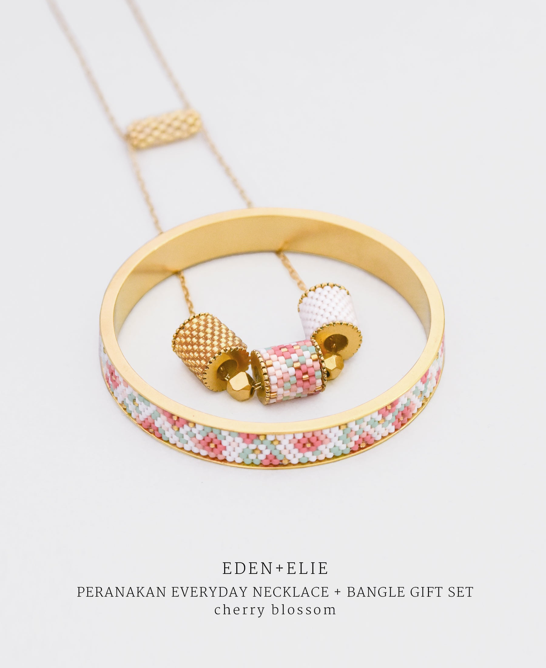 EDEN + ELIE Modern Peranakan adjustable length necklace + bangle gift set - cherry blossom