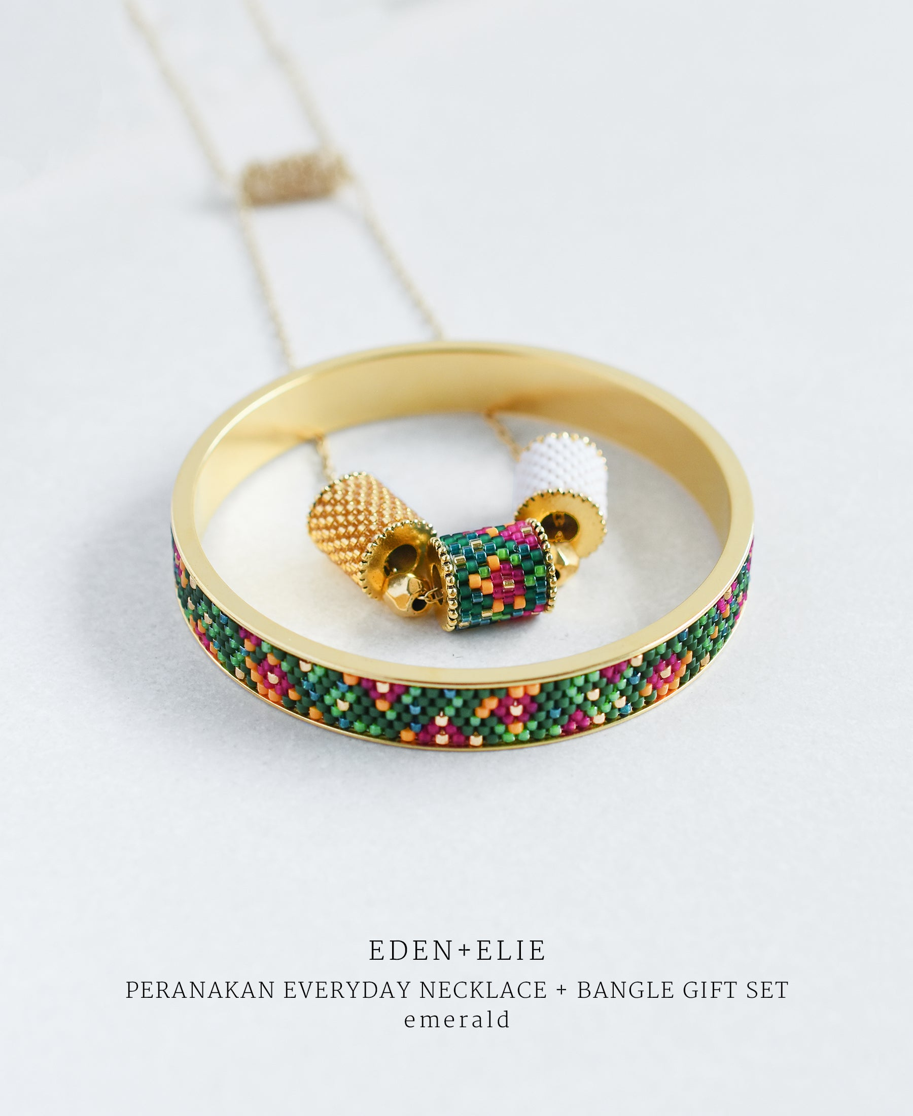 EDEN + ELIE Modern Peranakan adjustable length necklace + bangle gift set - emerald