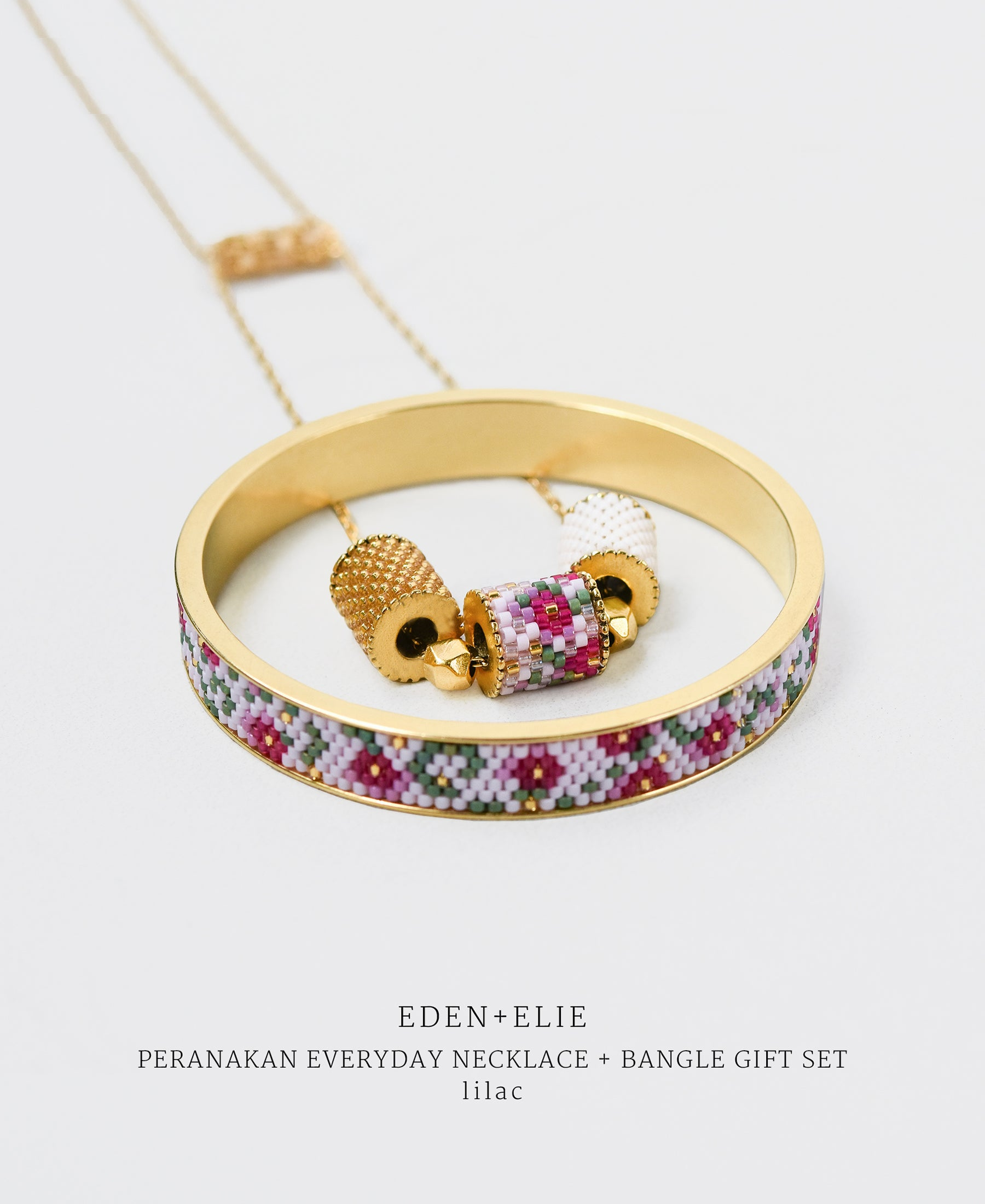 EDEN + ELIE Modern Peranakan adjustable length necklace + bangle gift set - lilac