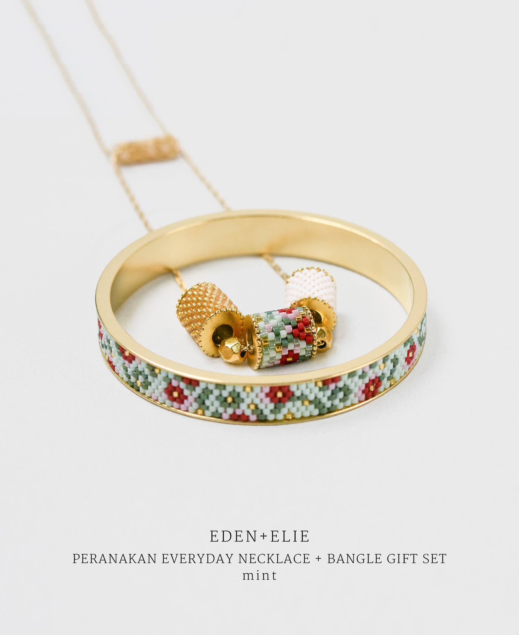 EDEN + ELIE gold plated jewelry Modern Peranakan adjustable length necklace + bangle gift set - mint
