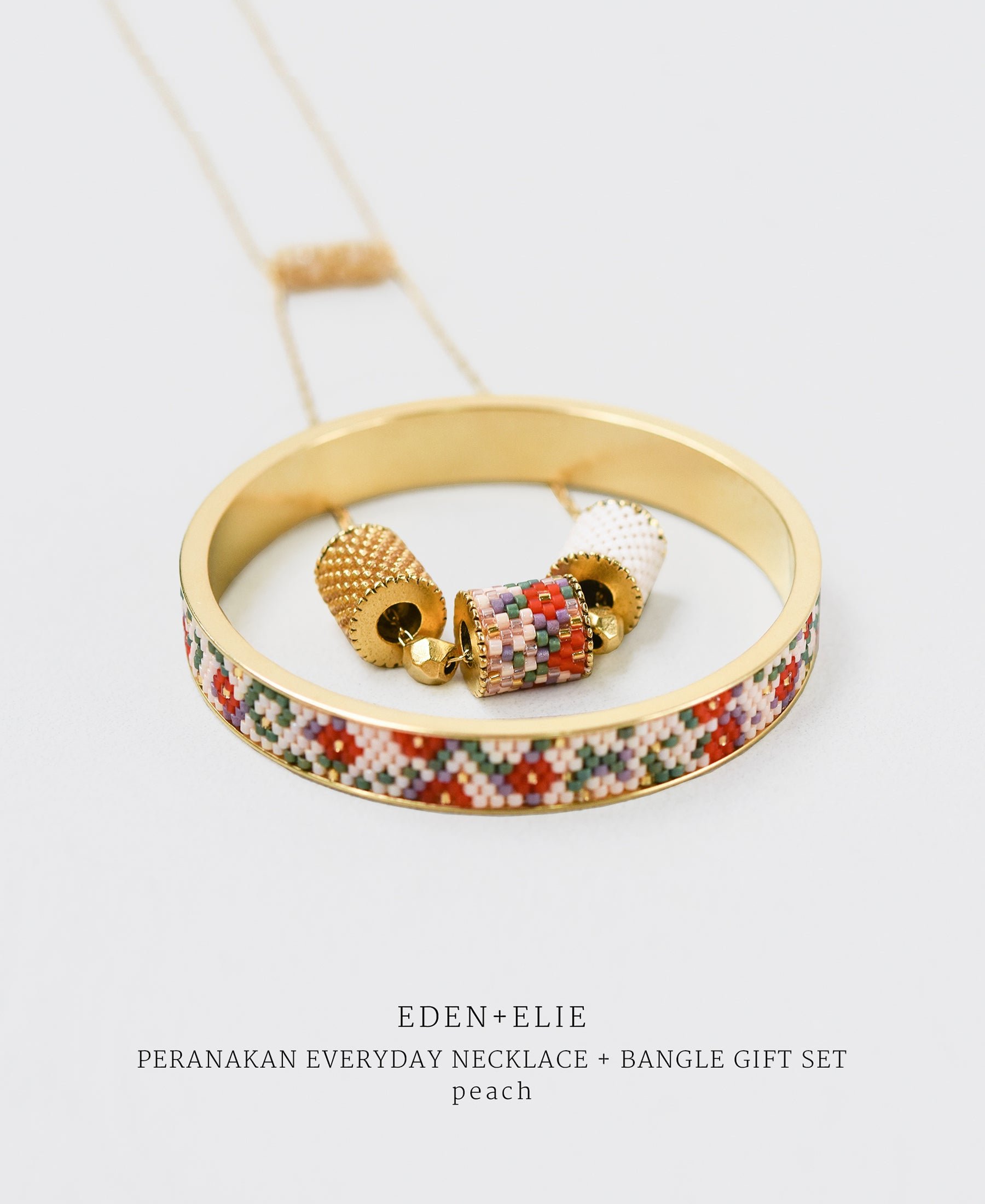 EDEN + ELIE Modern Peranakan adjustable length necklace + bangle gift set - peach