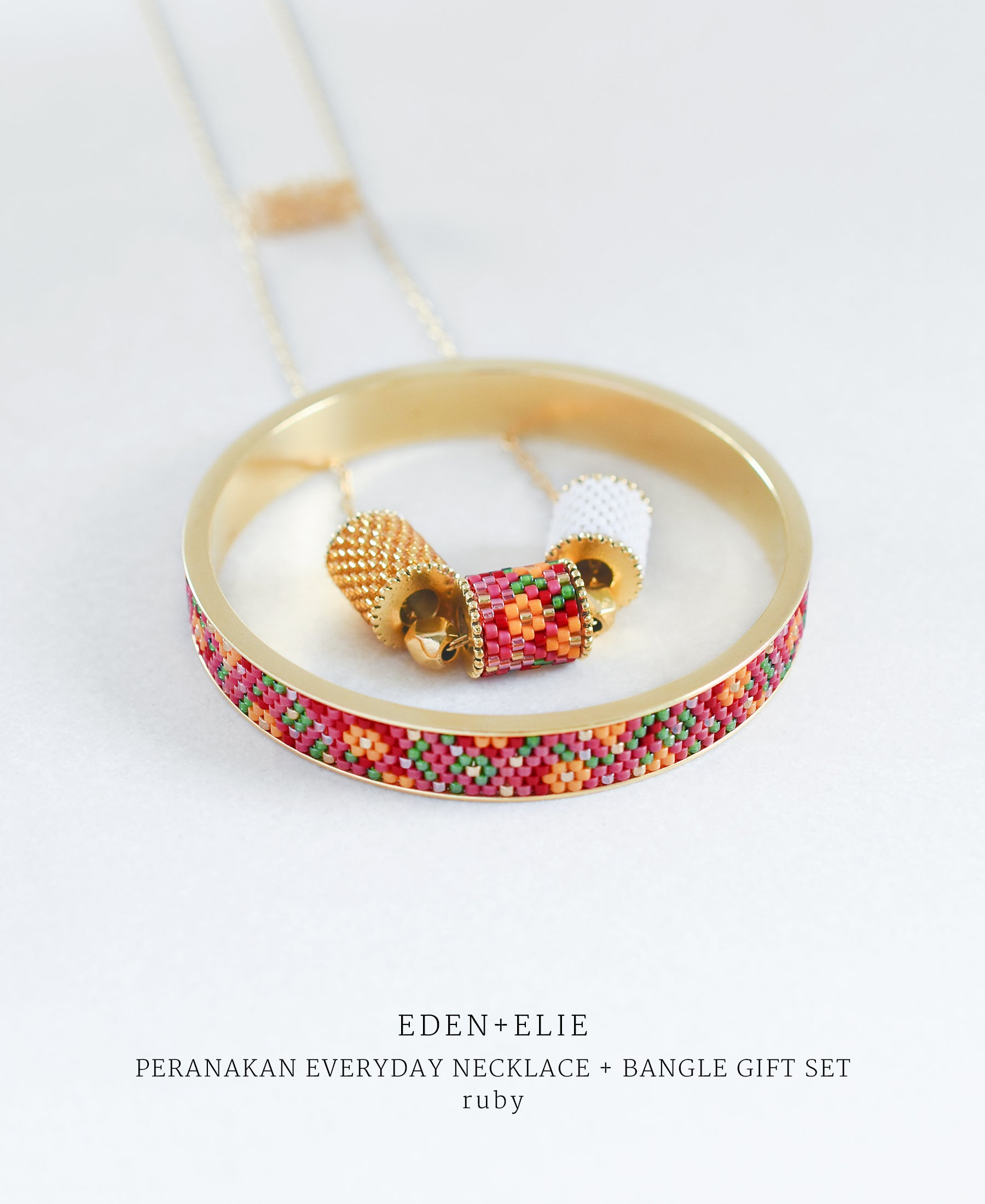 EDEN + ELIE Modern Peranakan adjustable length necklace + bangle gift set - ruby
