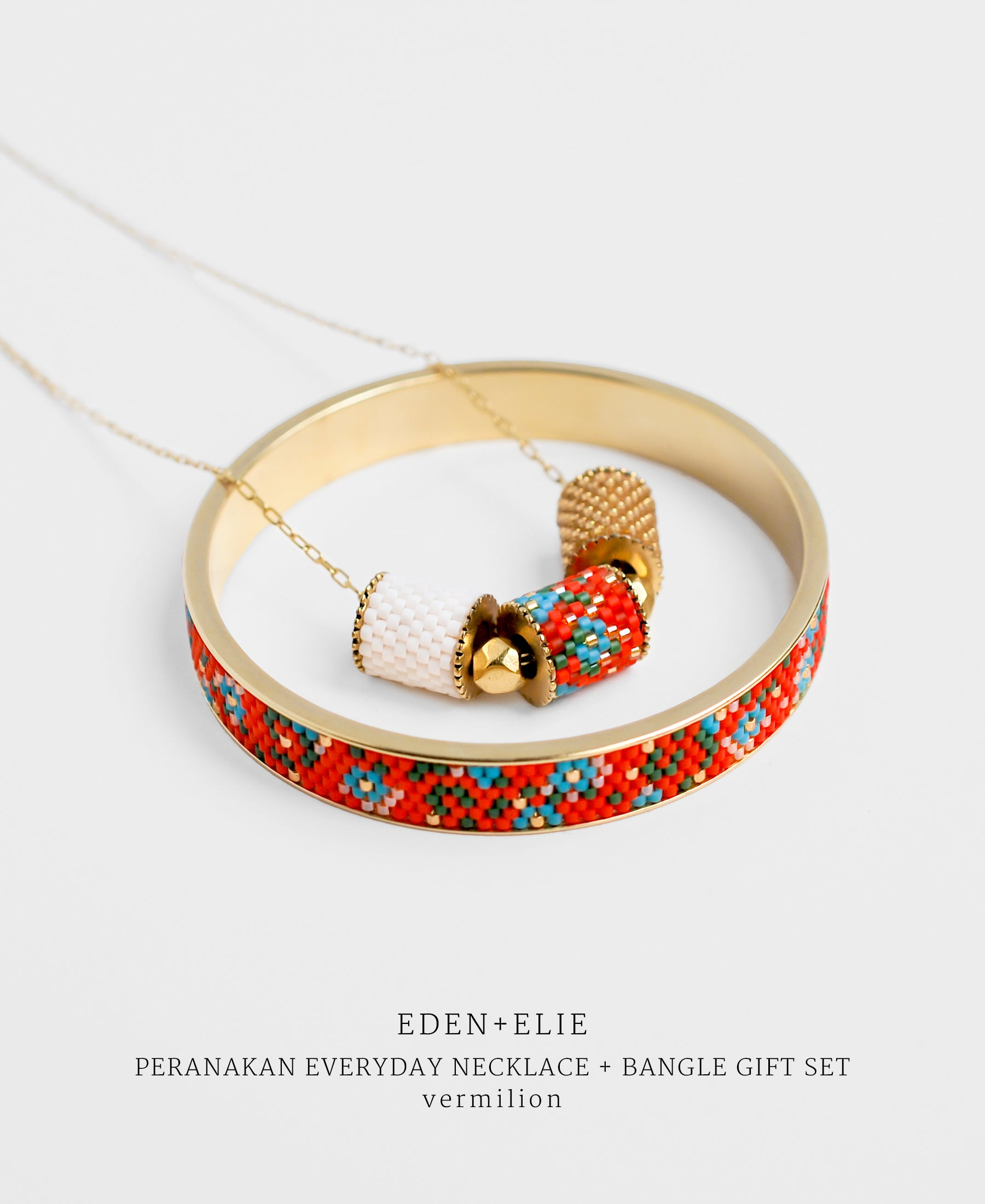 EDEN + ELIE Modern Peranakan adjustable length necklace + bangle gift set - vermilion
