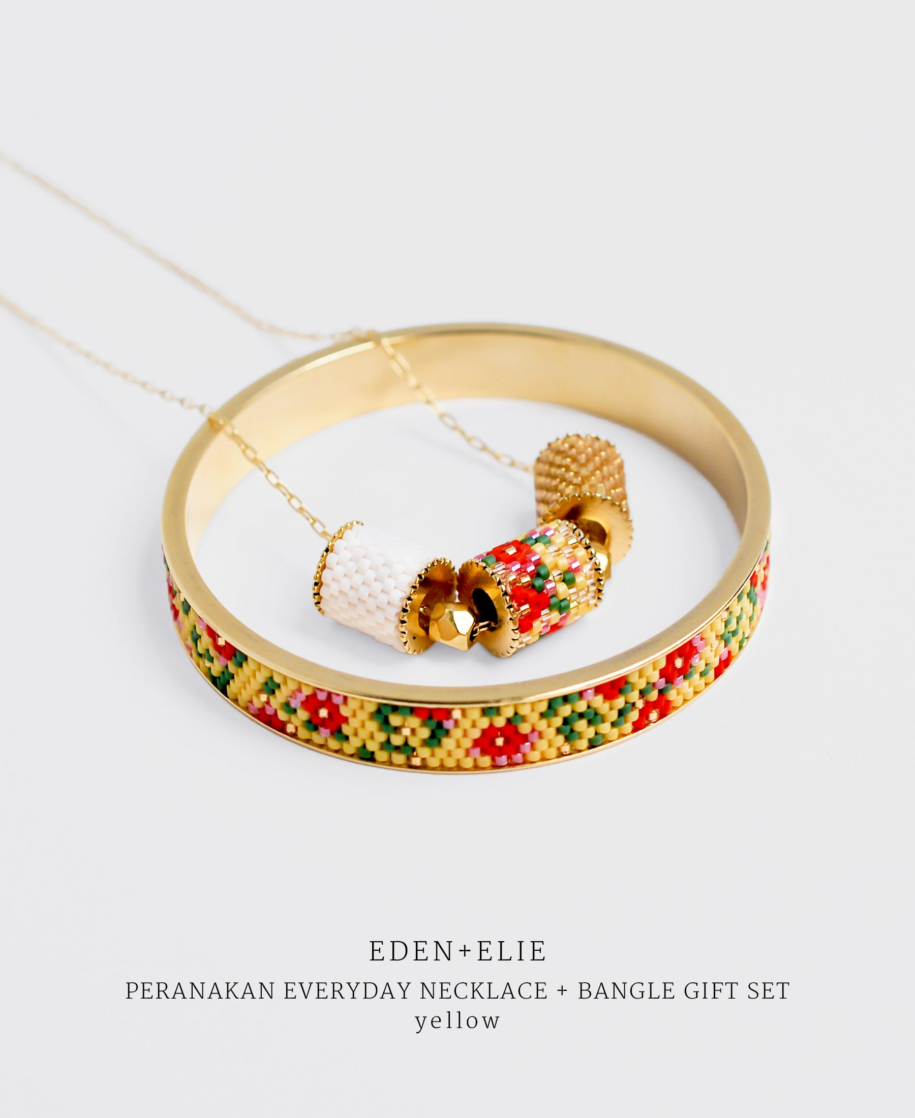 EDEN + ELIE Modern Peranakan adjustable length necklace + bangle gift set - yellow