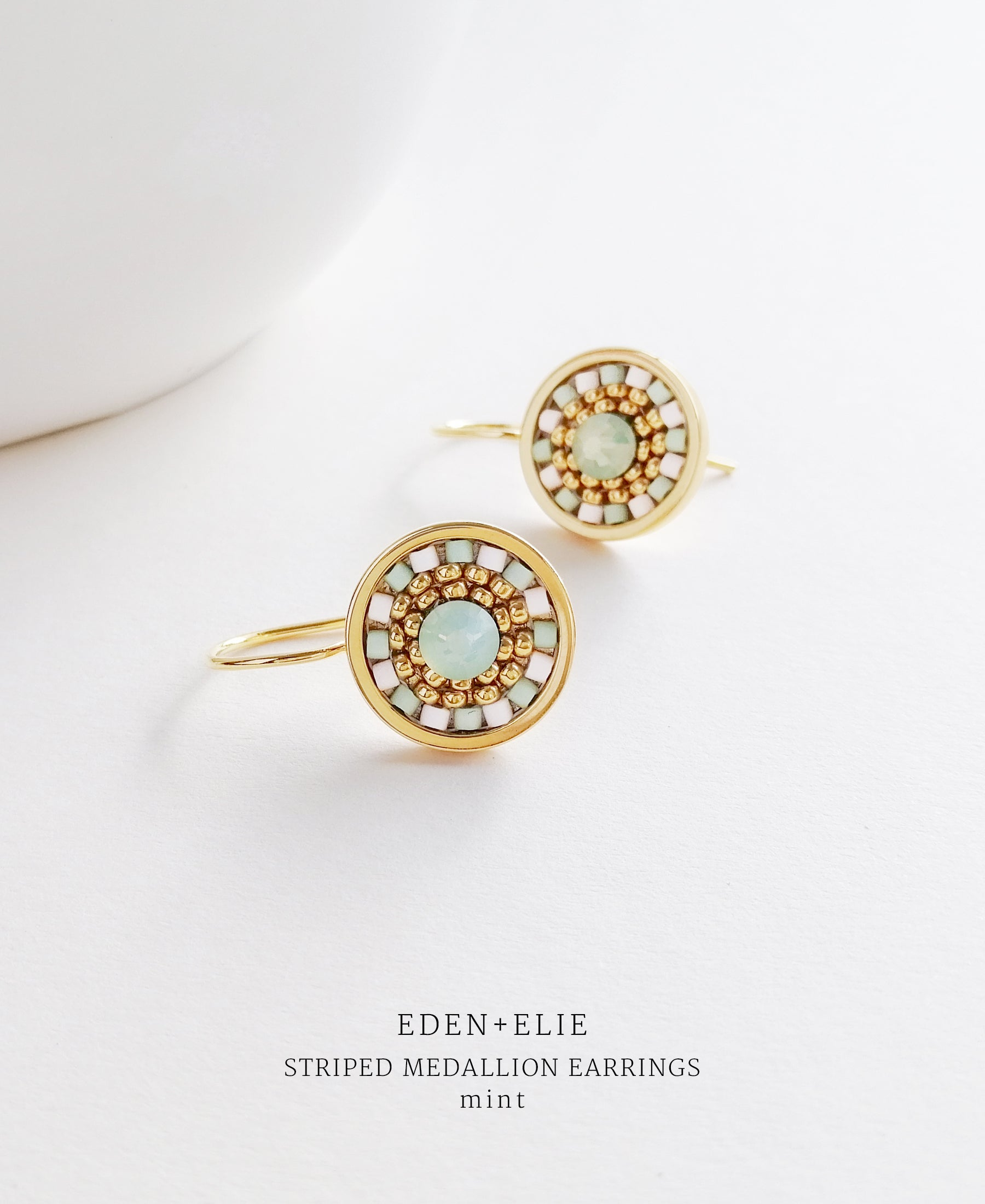 EDEN + ELIE Striped Medallion drop earrings - mint