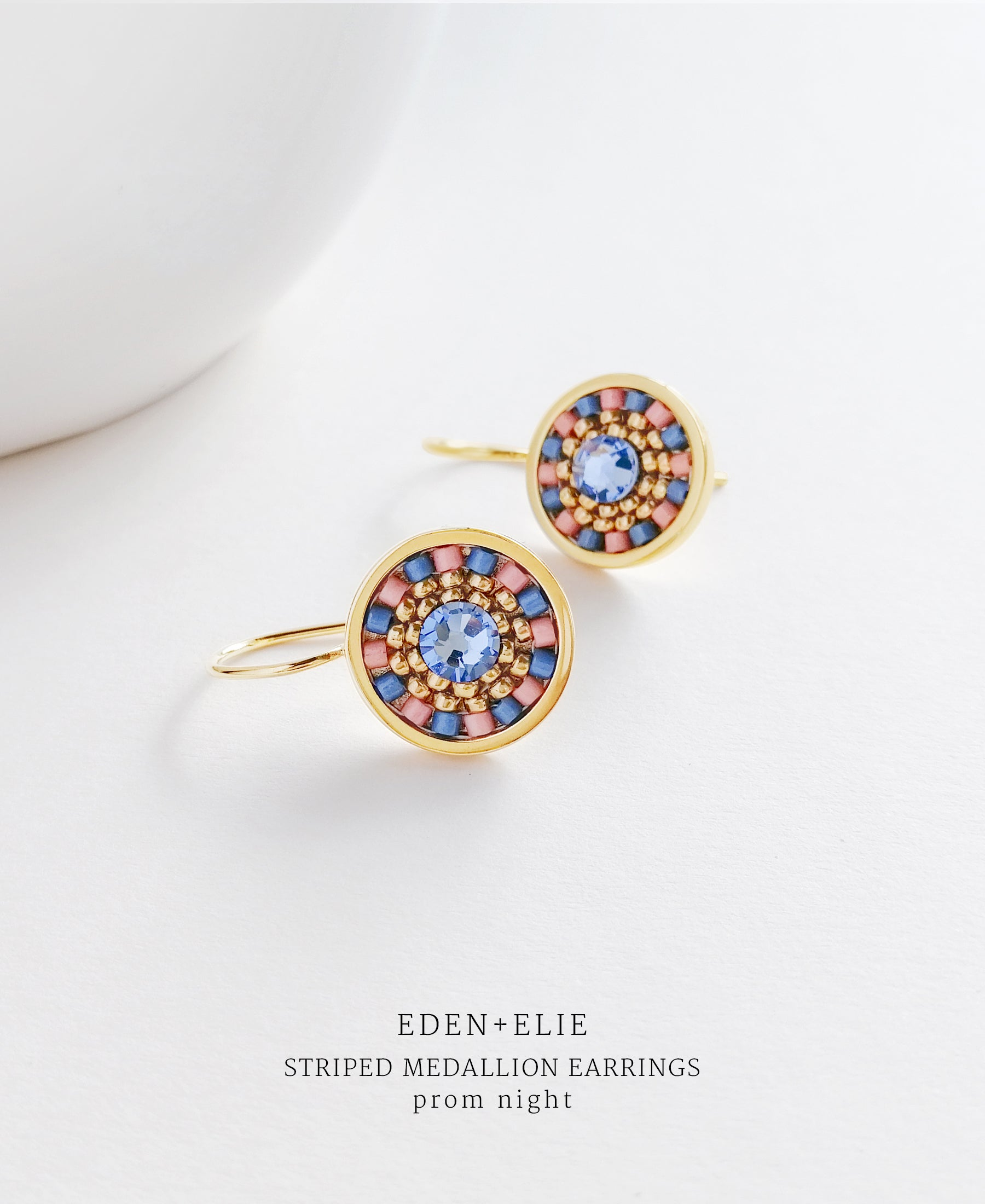 EDEN + ELIE Striped Medallion drop earrings - prom night