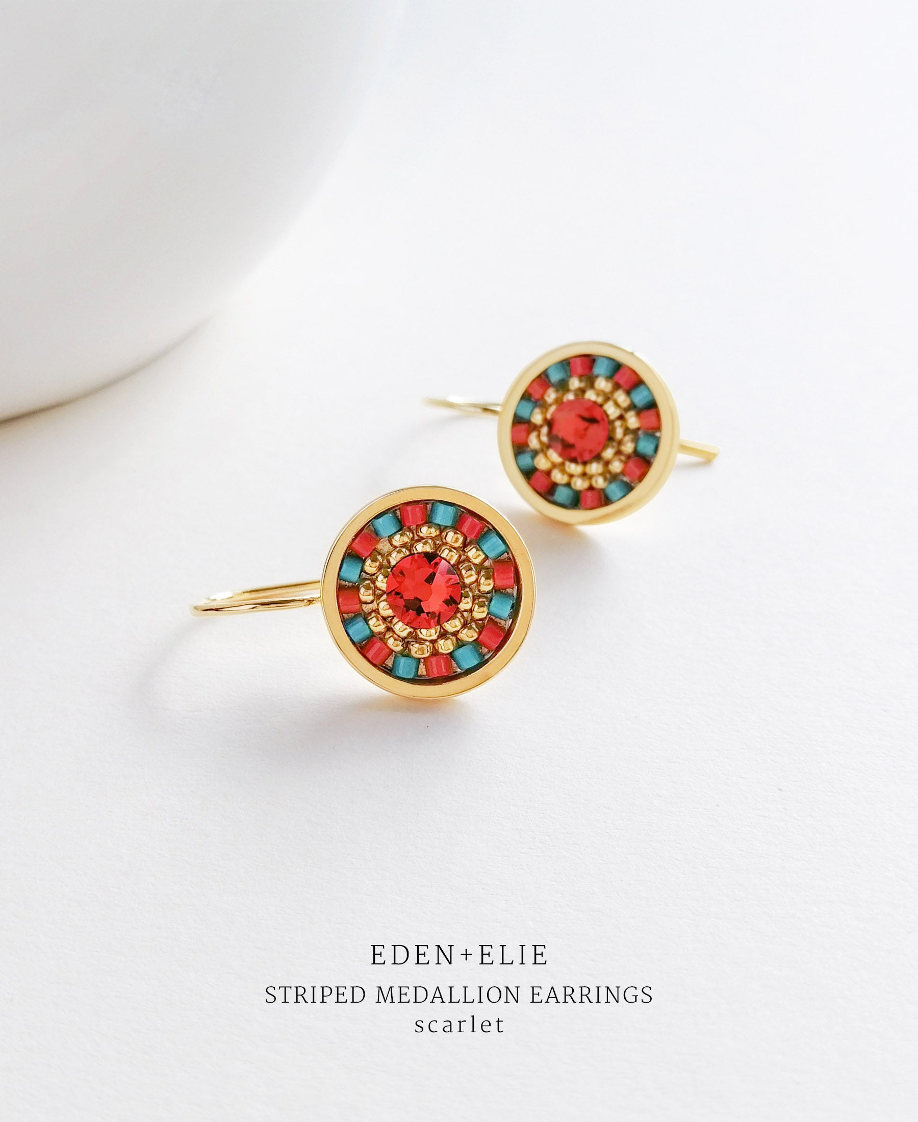 EDEN + ELIE Striped Medallion drop earrings - scarlet