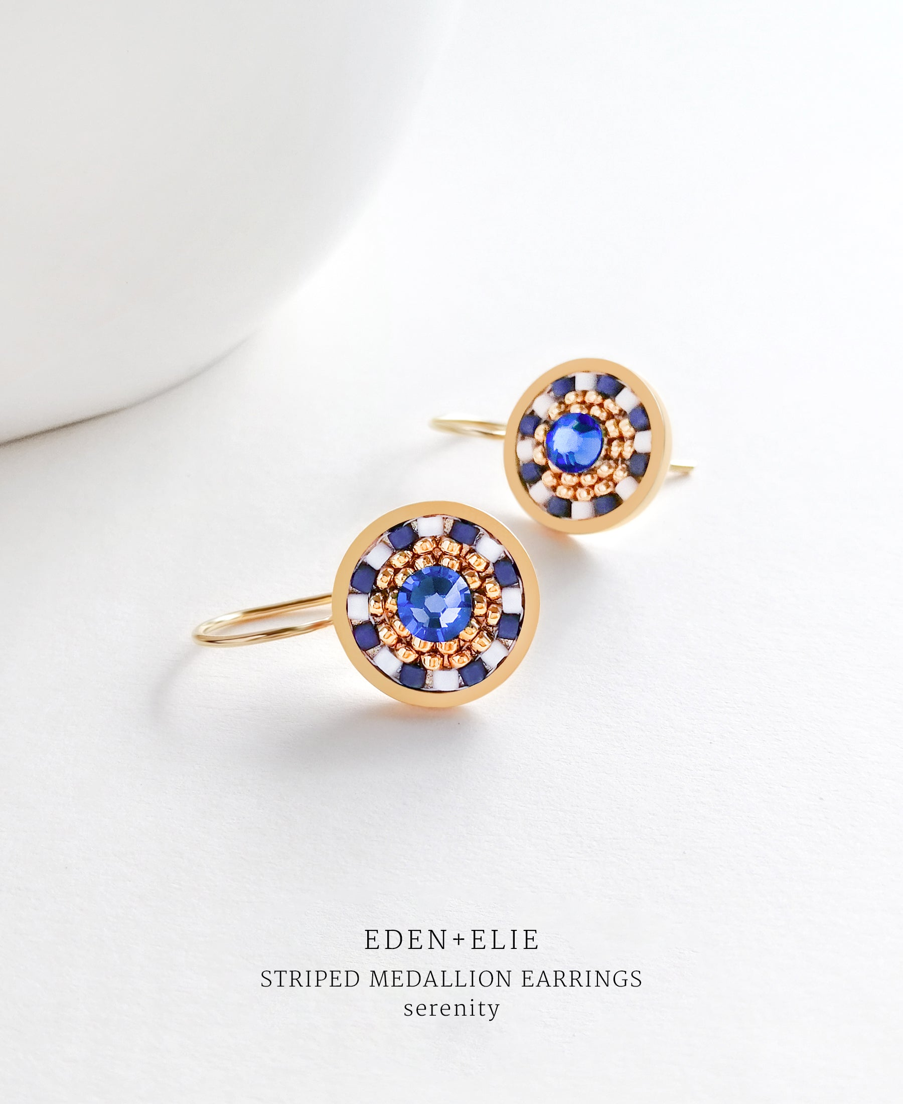 EDEN + ELIE Striped Medallion drop earrings - serenity