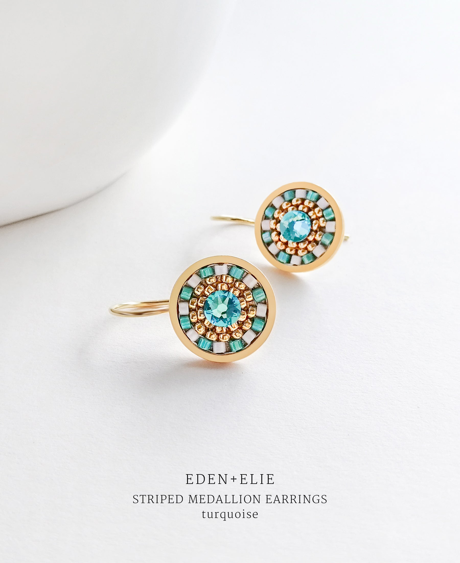 EDEN + ELIE Striped Medallion drop earrings - turquoise